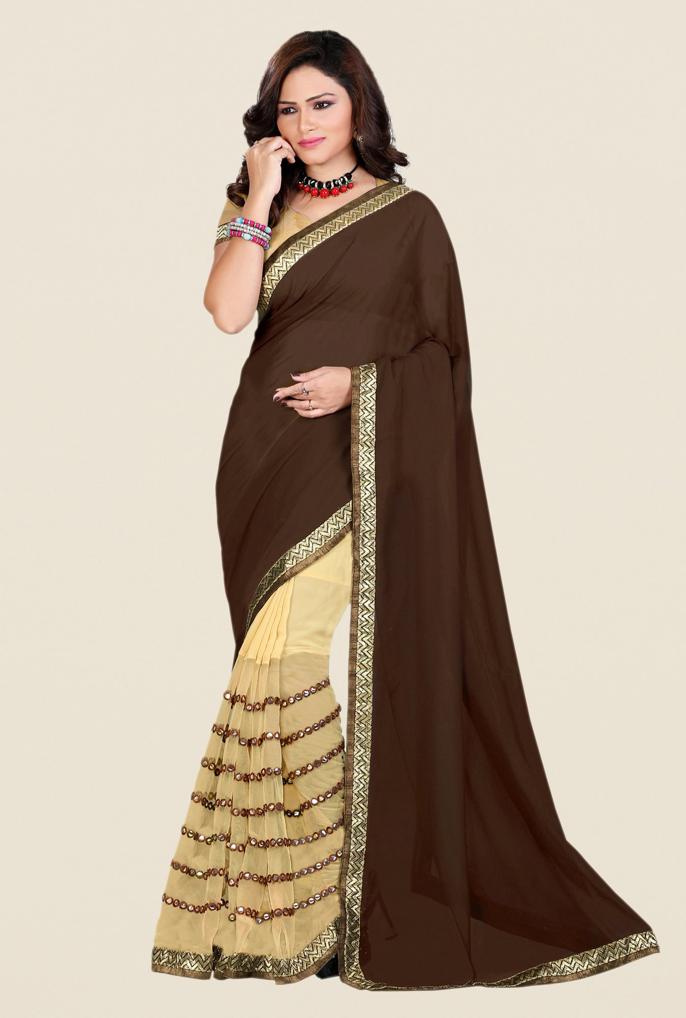 Shonaya Brown & Beige Georgette & Net Saree