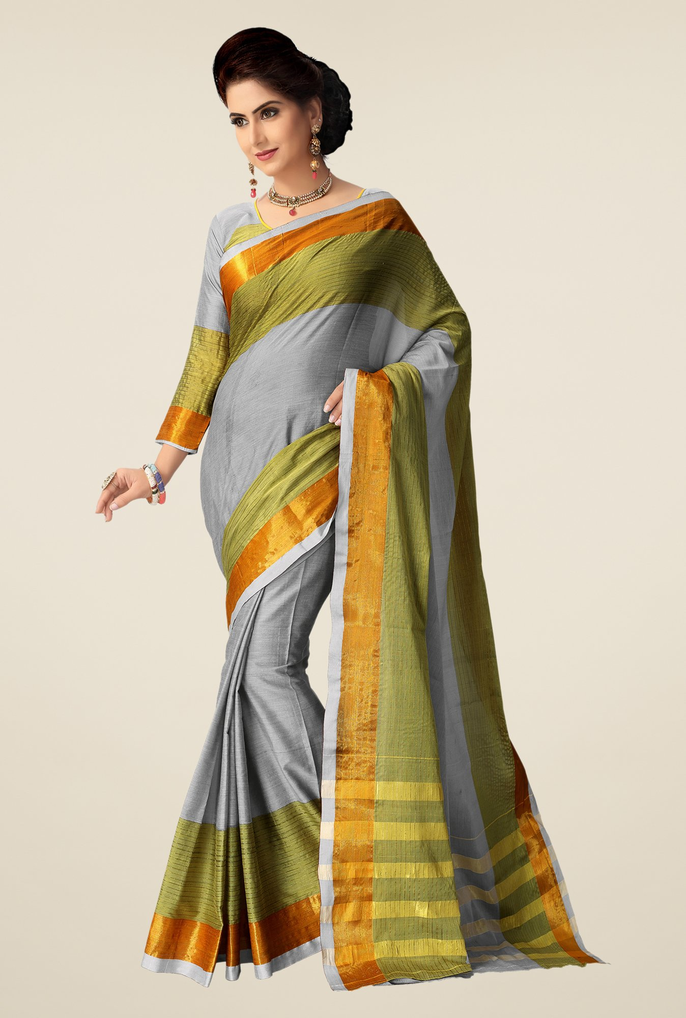 Shonaya Grey & Mehndi Cotton Silk Saree