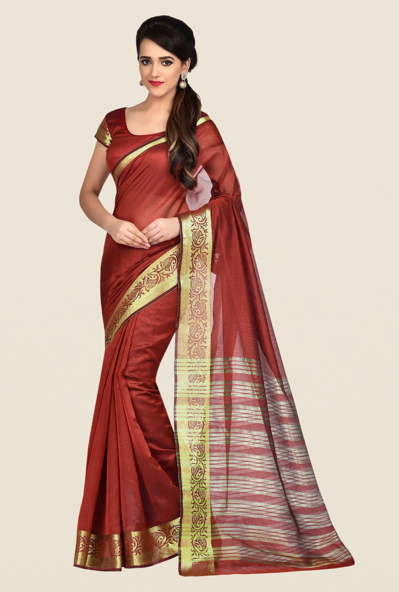 Shonaya Brown Banarasi Art Silk Saree
