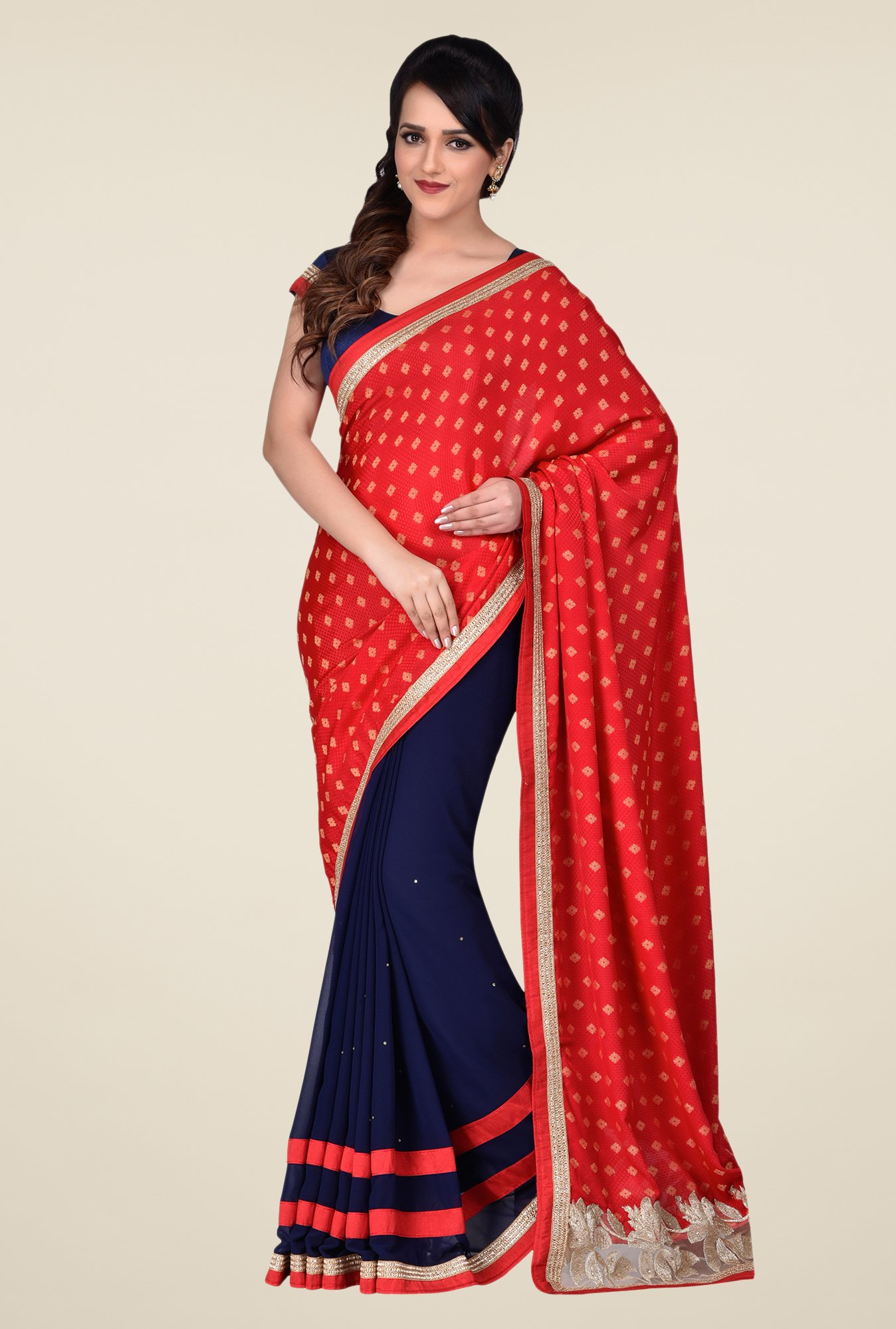 Shonaya Navy & Red Faux Georgette Saree
