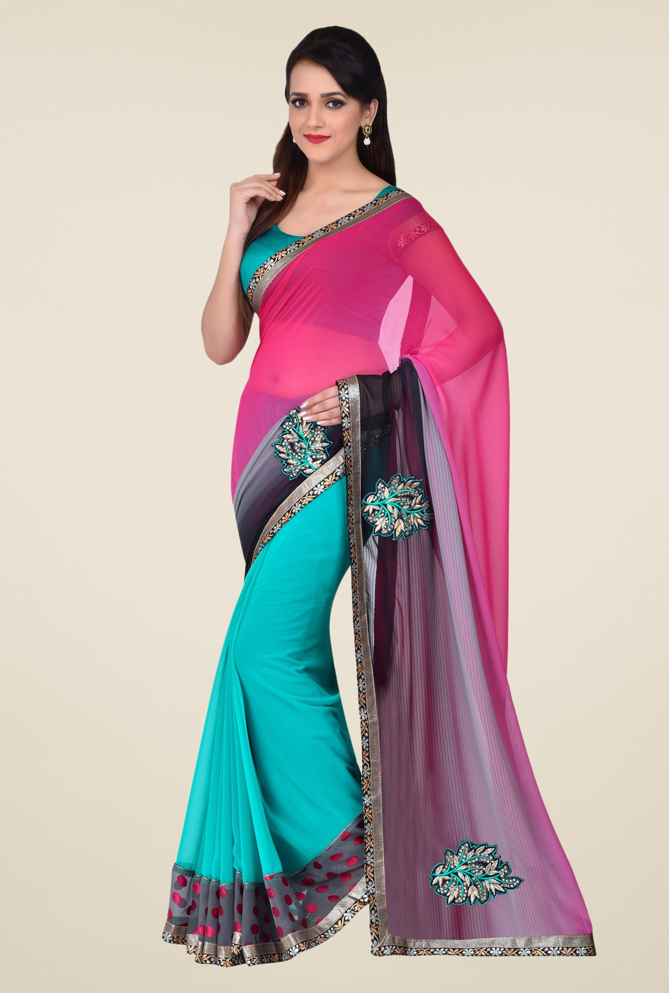 Shonaya Teal & Pink Faux Georgette Saree