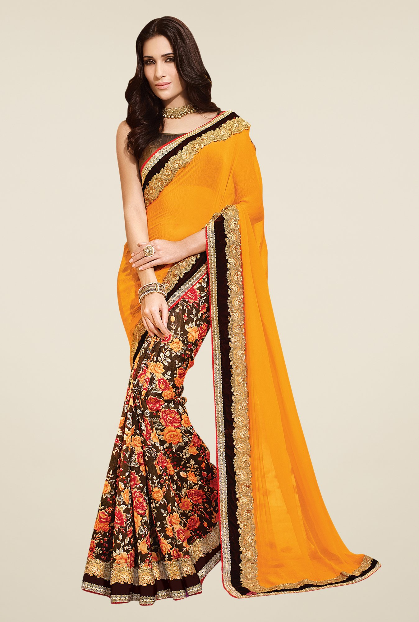 Shonaya Brown & Yellow Bhagalpuri & Chiffon Saree