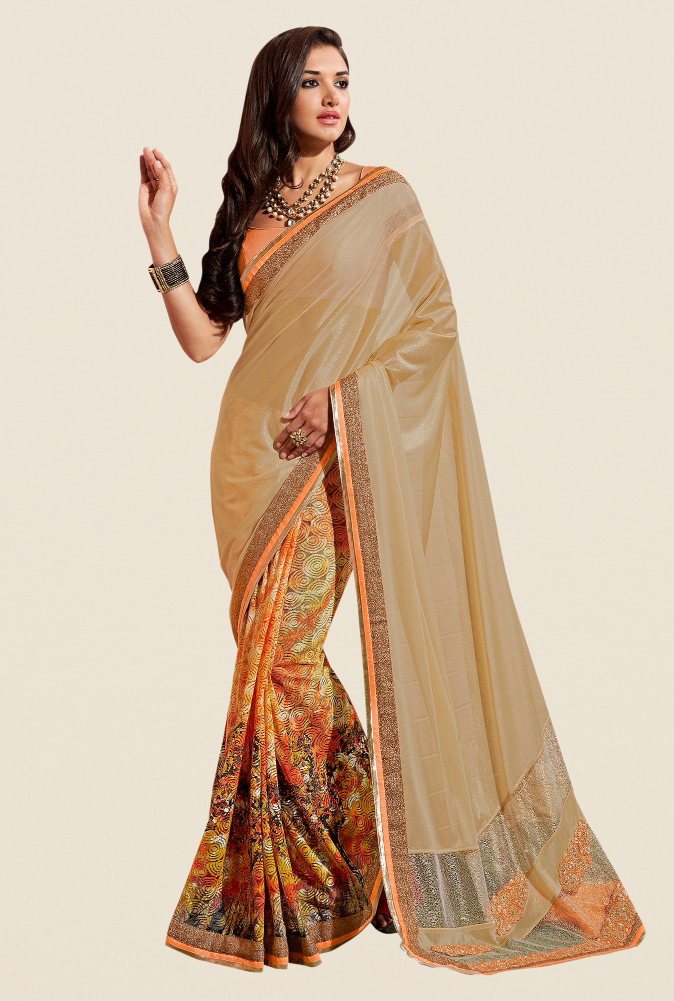 Shonaya Beige & Orange Georgette & Jacquard Saree
