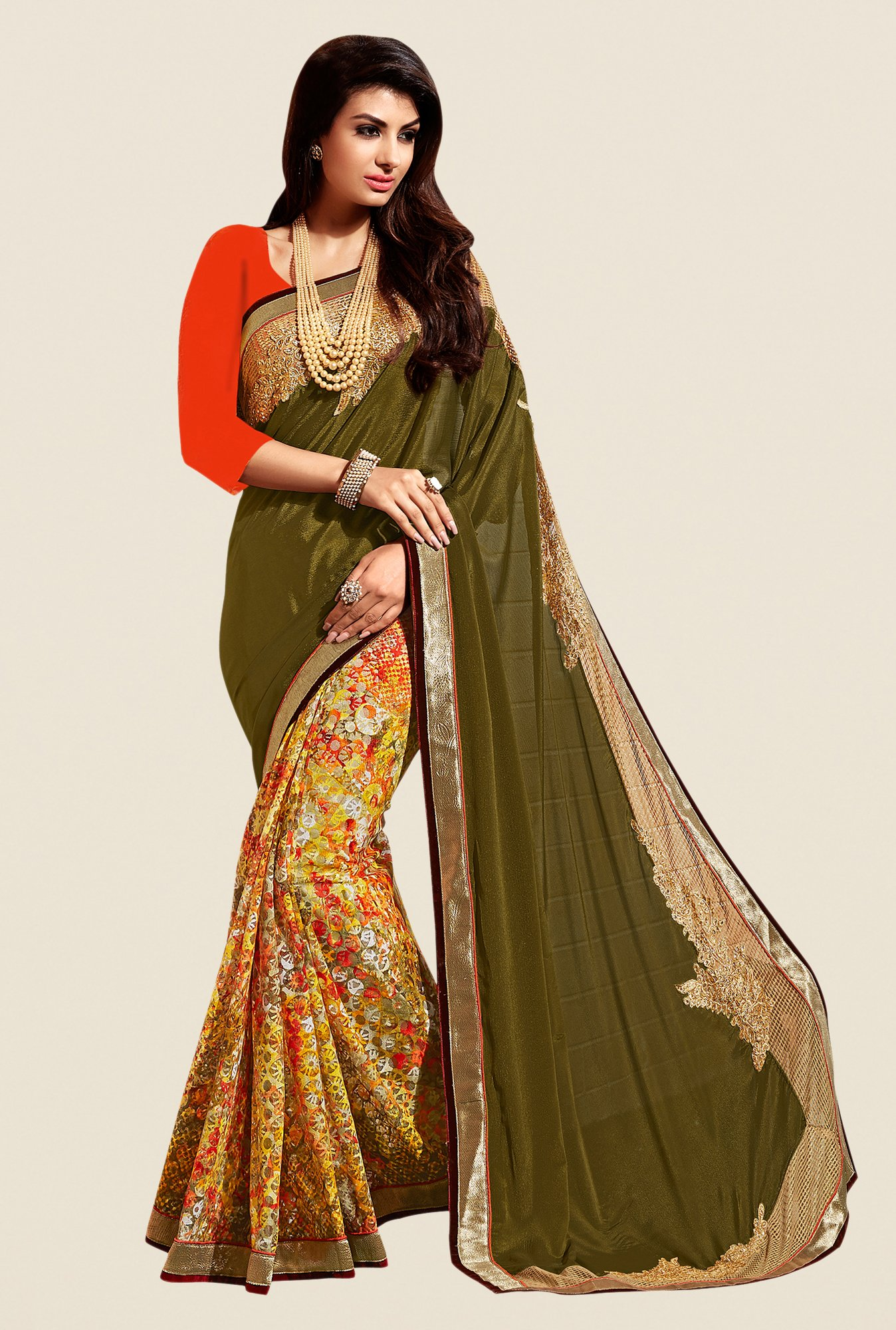 Shonaya Olive & Yellow Georgette & Jacquard Saree
