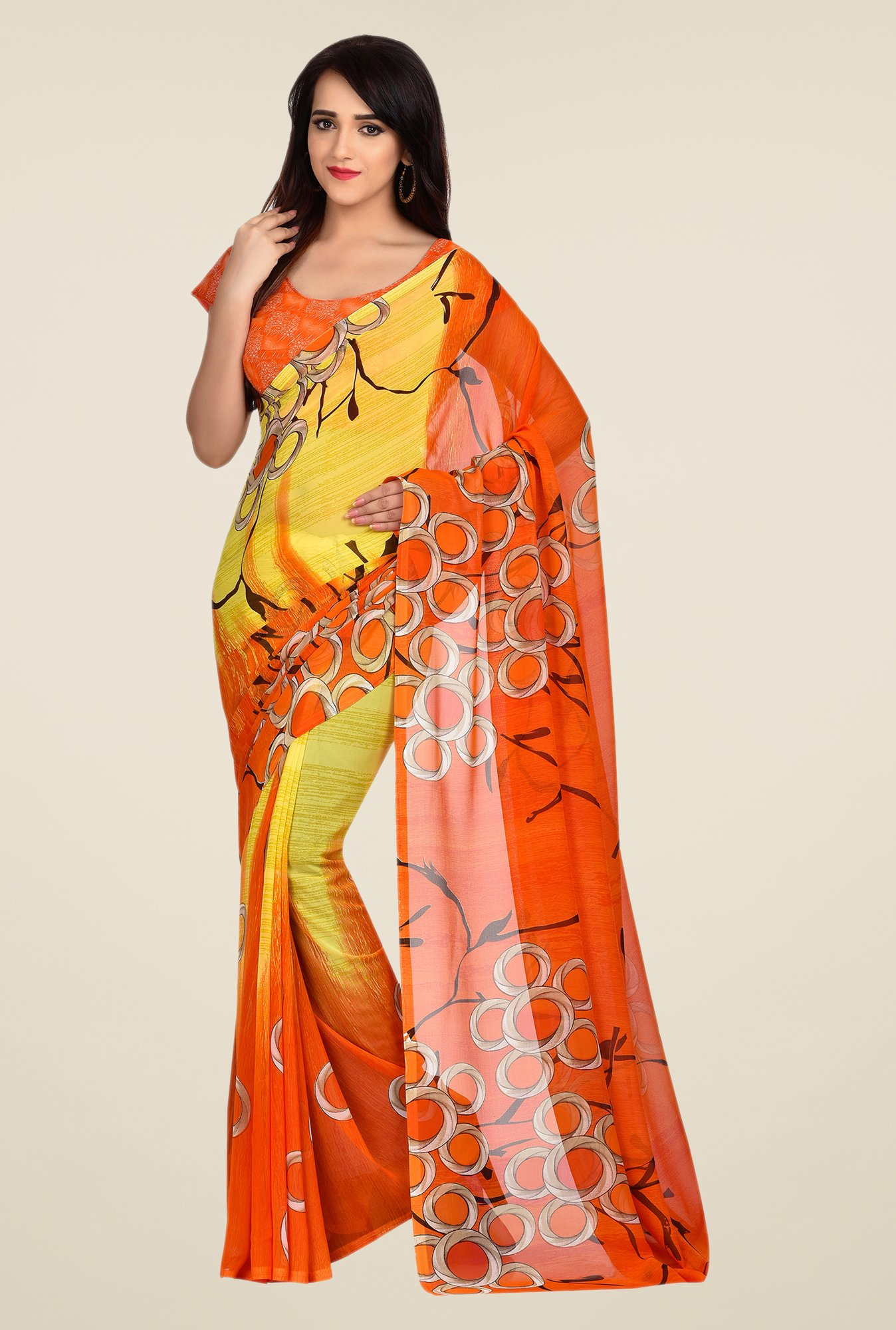 Shonaya Orange & Yellow Dani Georgette Saree