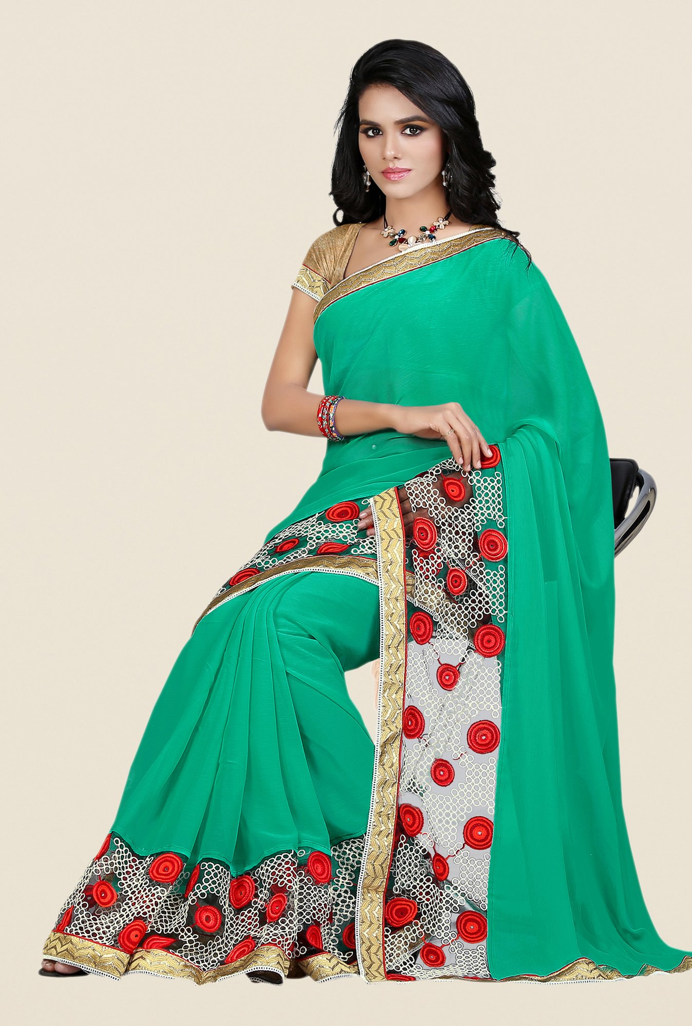Shonaya Green Georgette & Net Saree