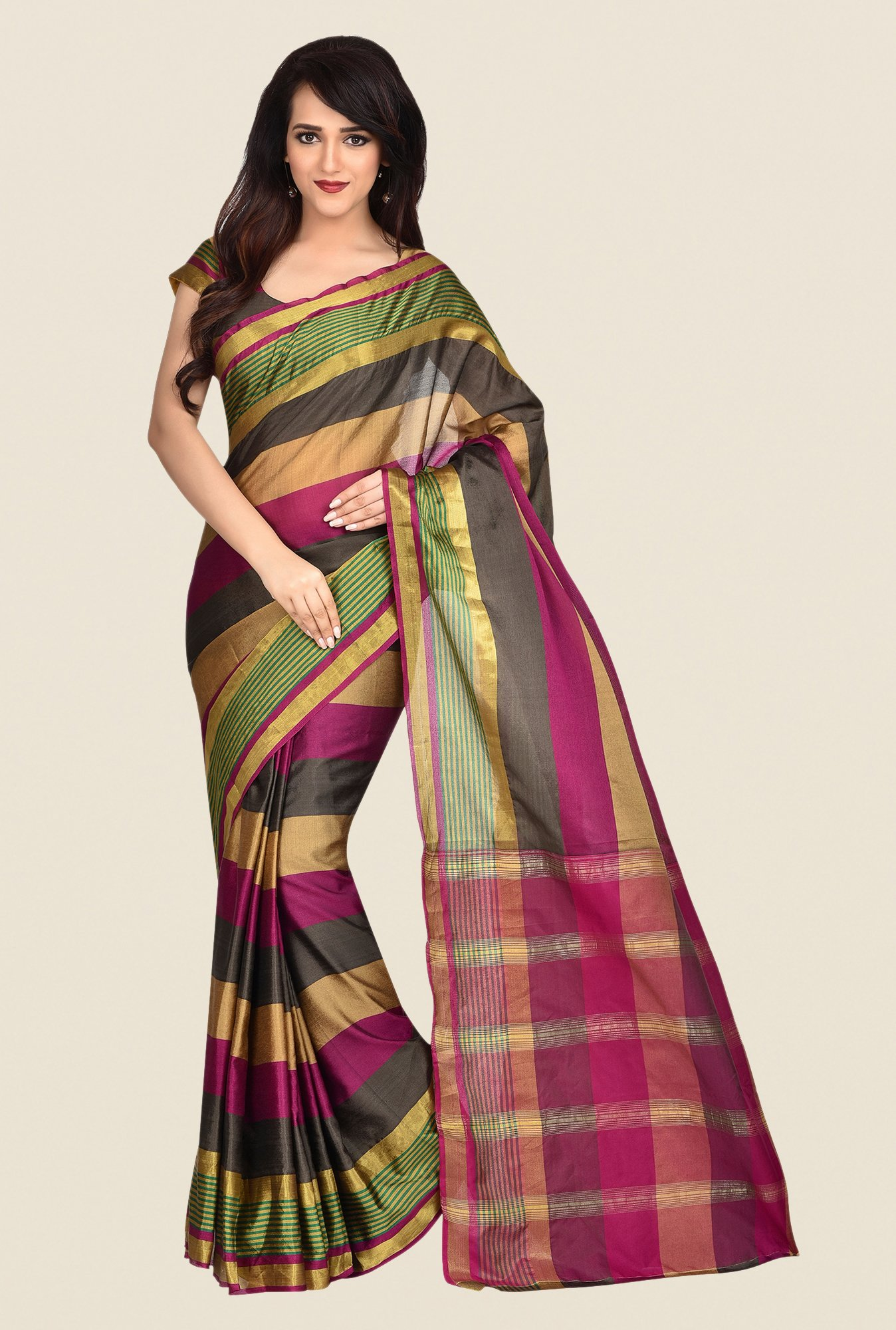 Shonaya Multicolor Banarasi Art Stripes Saree