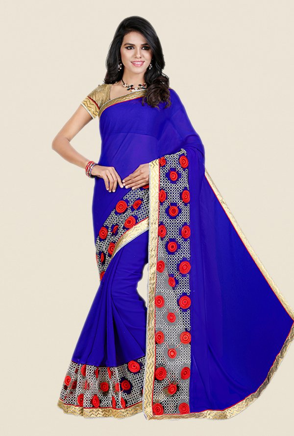 Shonaya Blue Georgette & Net Saree