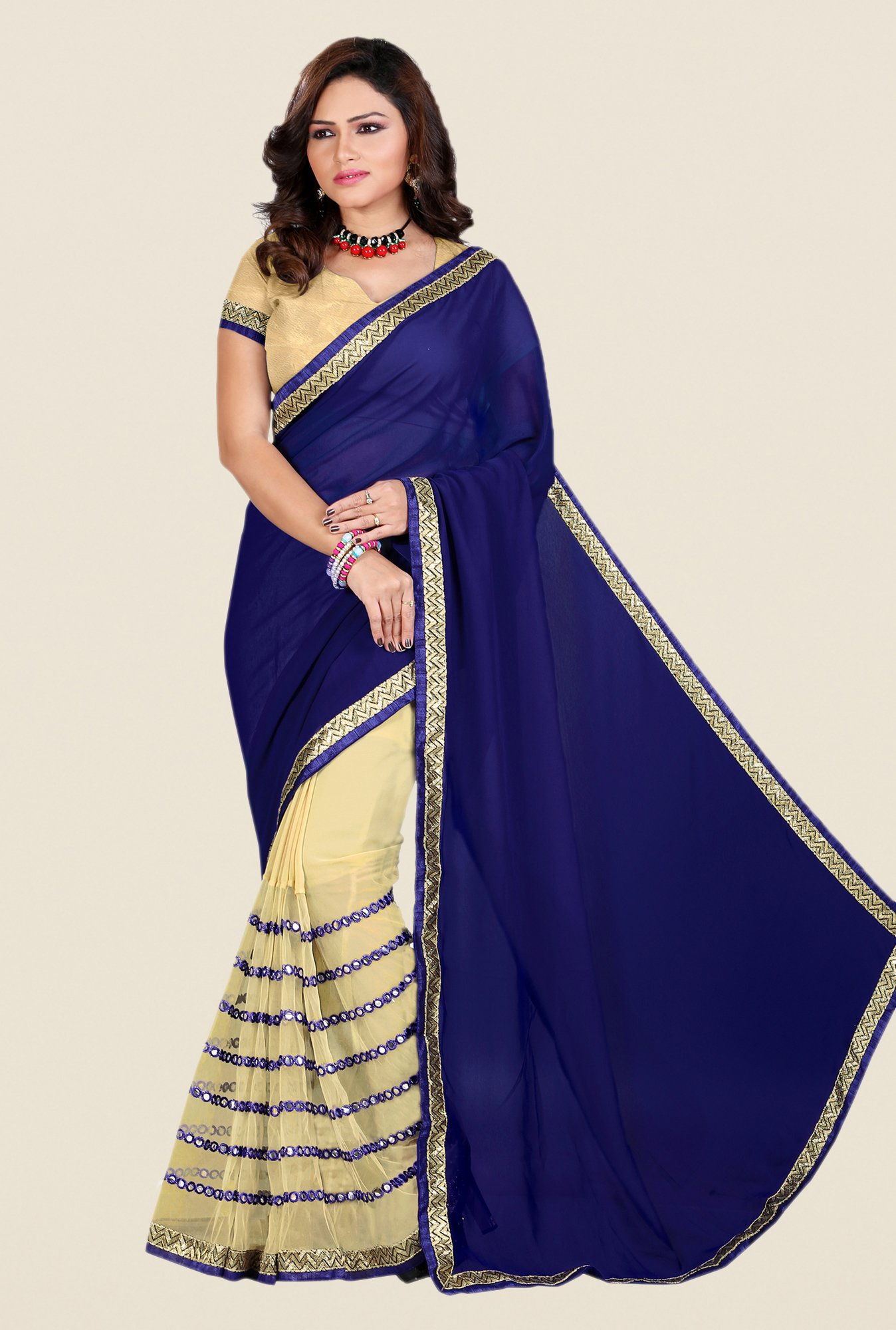 Shonaya Beige & Navy Georgette & Net Saree