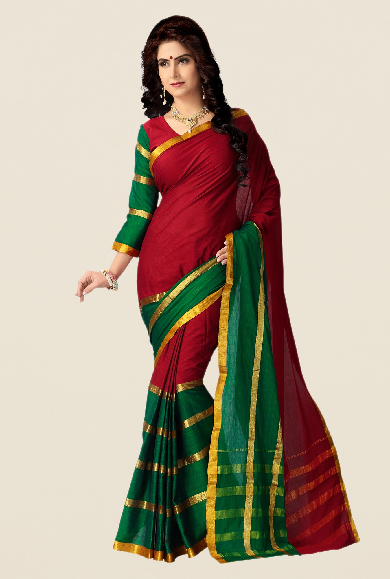 Shonaya Red & Green Cotton Silk Saree