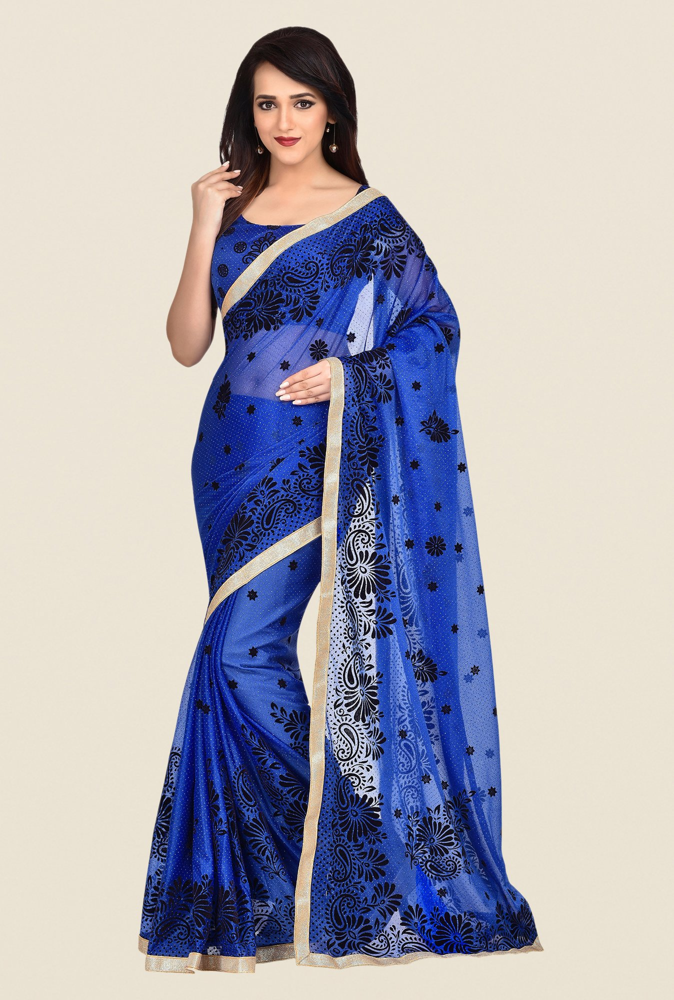 Shonaya Blue Lycra Saree