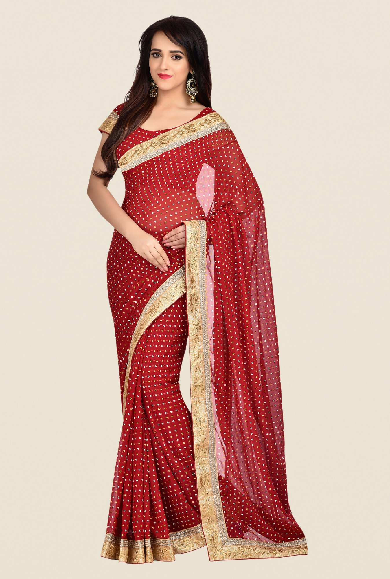 Shonaya Red Georgette Saree