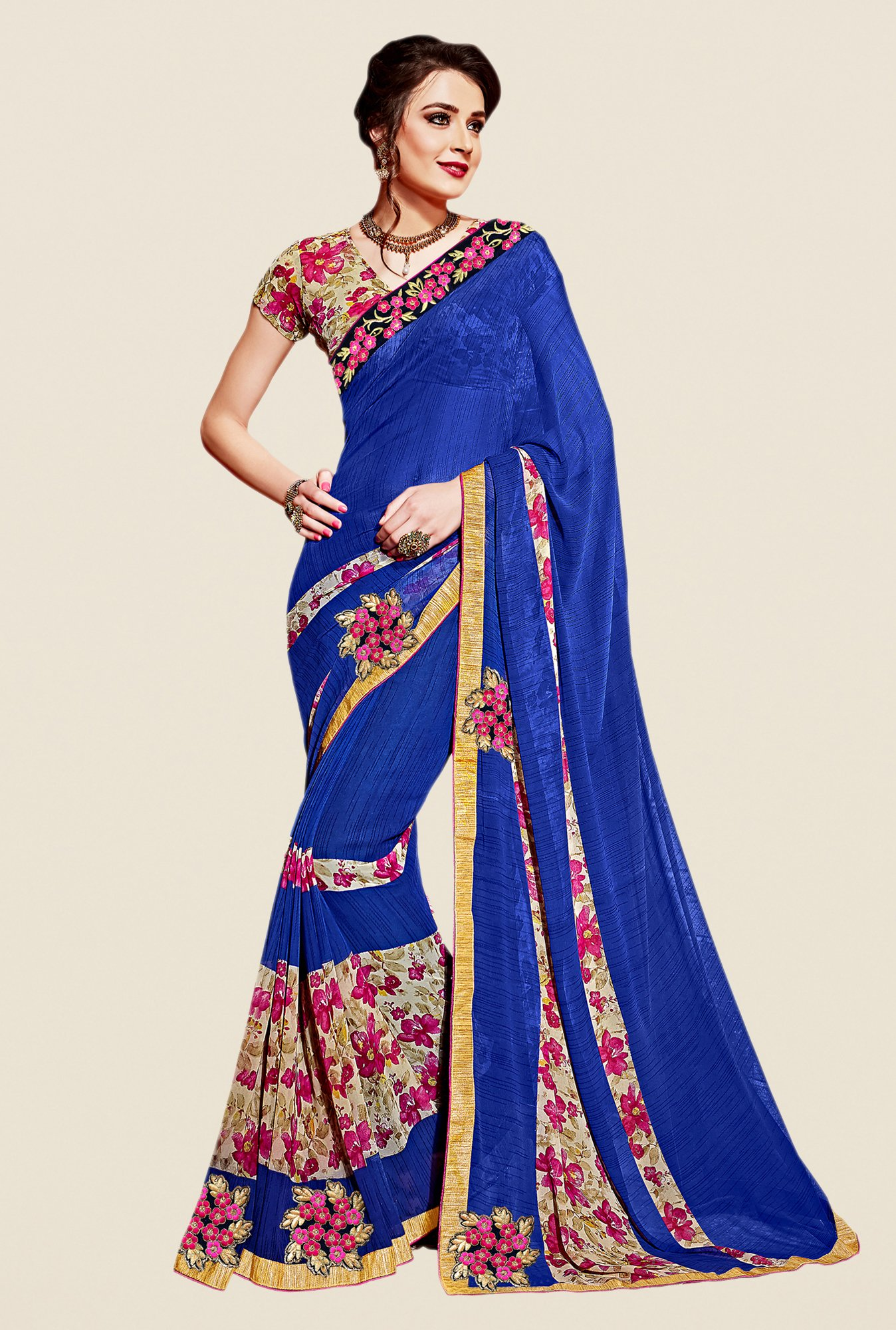 Shonaya Blue & Beige Georgette Printed Saree