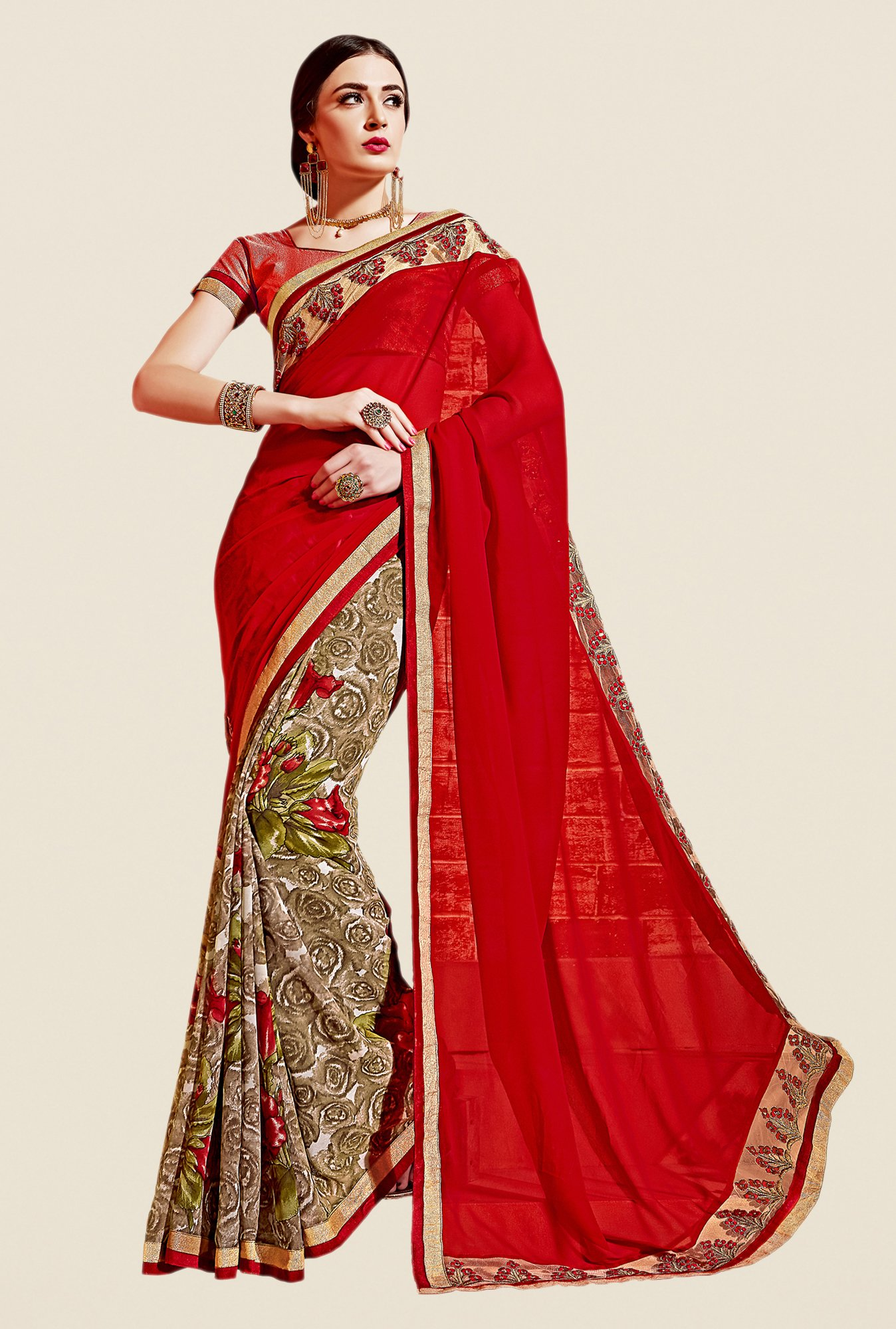 Shonaya Red & Beige Georgette Printed Saree