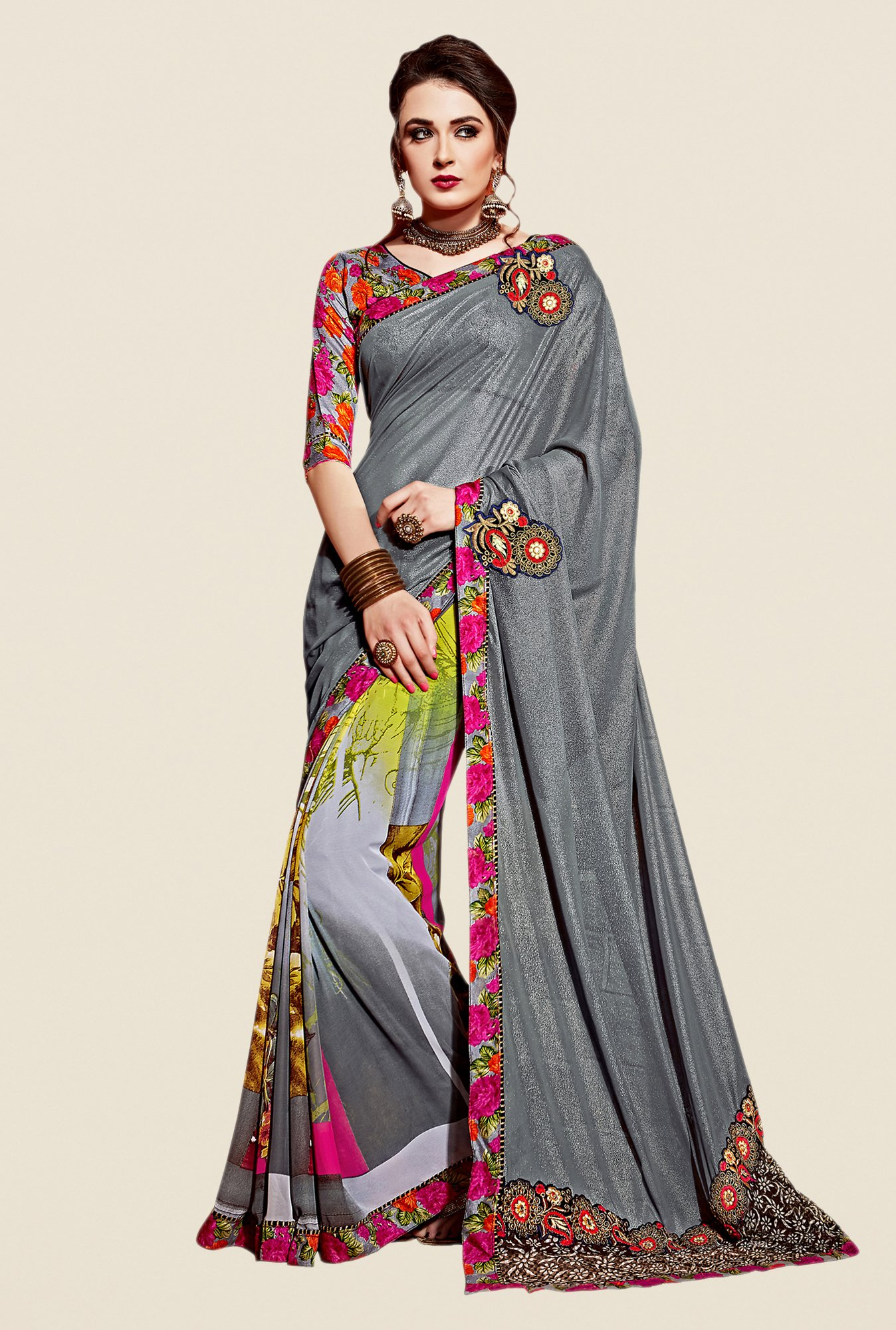 Shonaya Grey Georgette & Net Saree