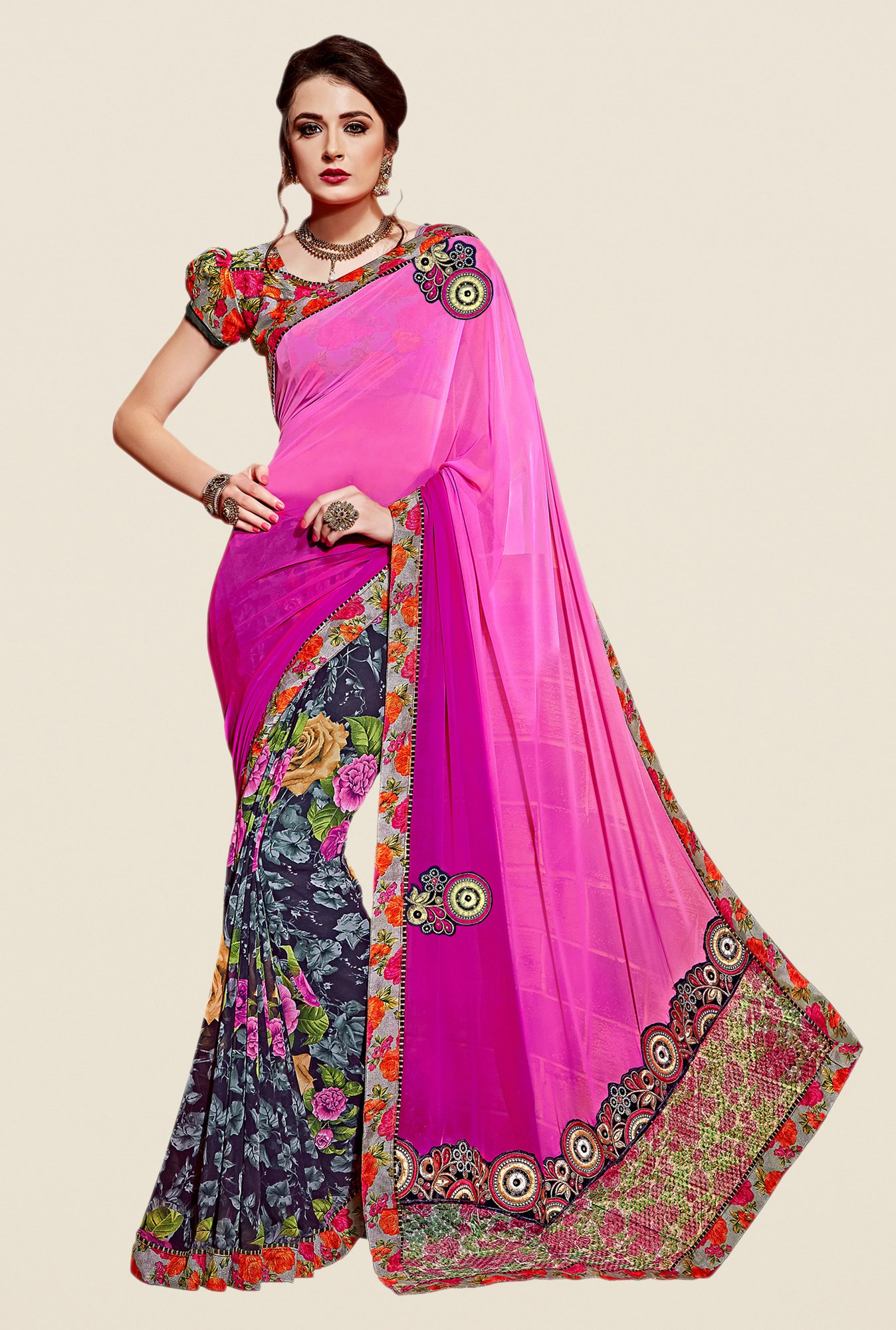 Shonaya Multicolor Georgette & Net Saree