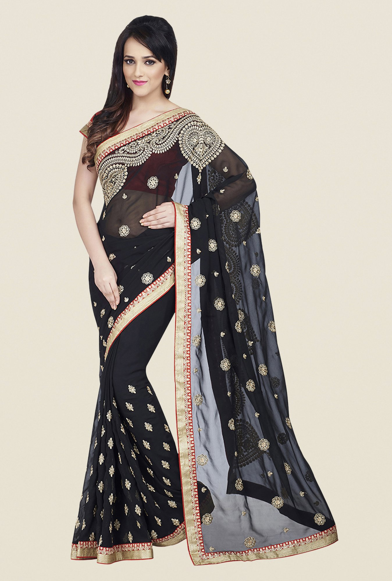Shonaya Black Georgette Saree