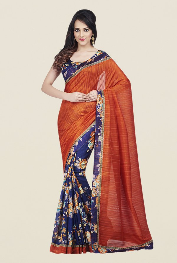 Shonaya Orange & Blue Bhagalpuri Art Silk Saree
