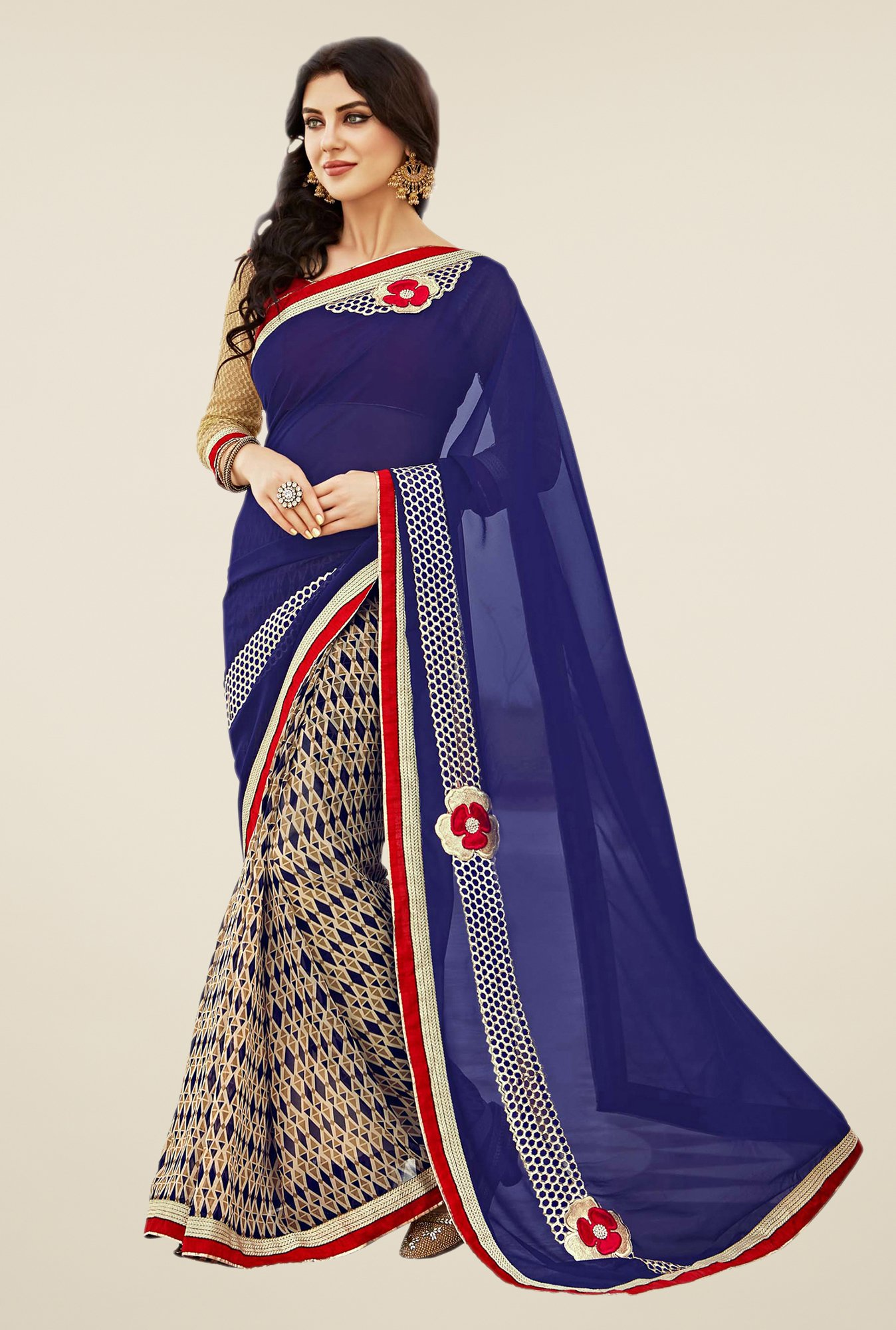 Shonaya Blue & Beige Georgette Dry Clean Saree