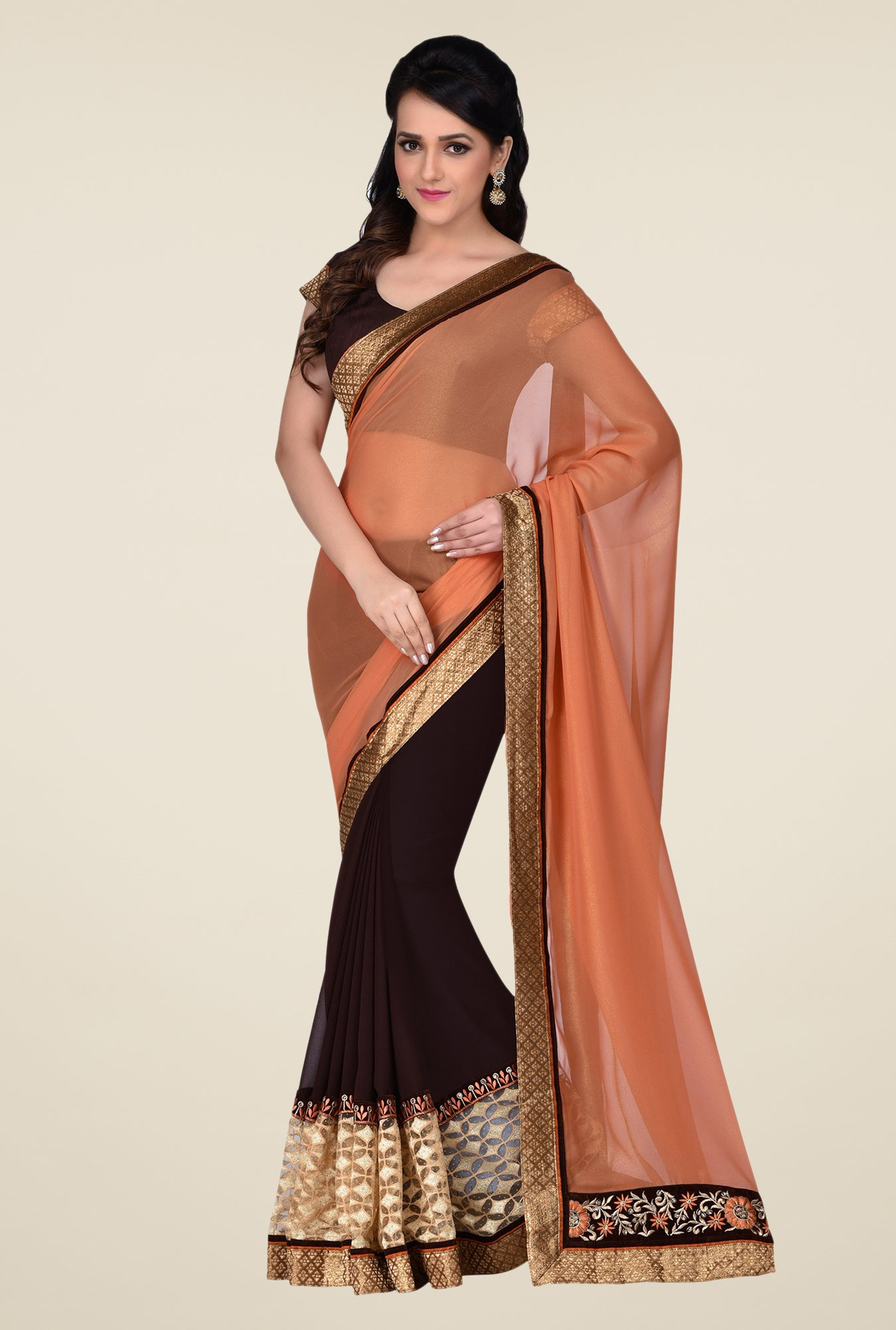 Shonaya Brown & Coral Georgette & Lycra Saree