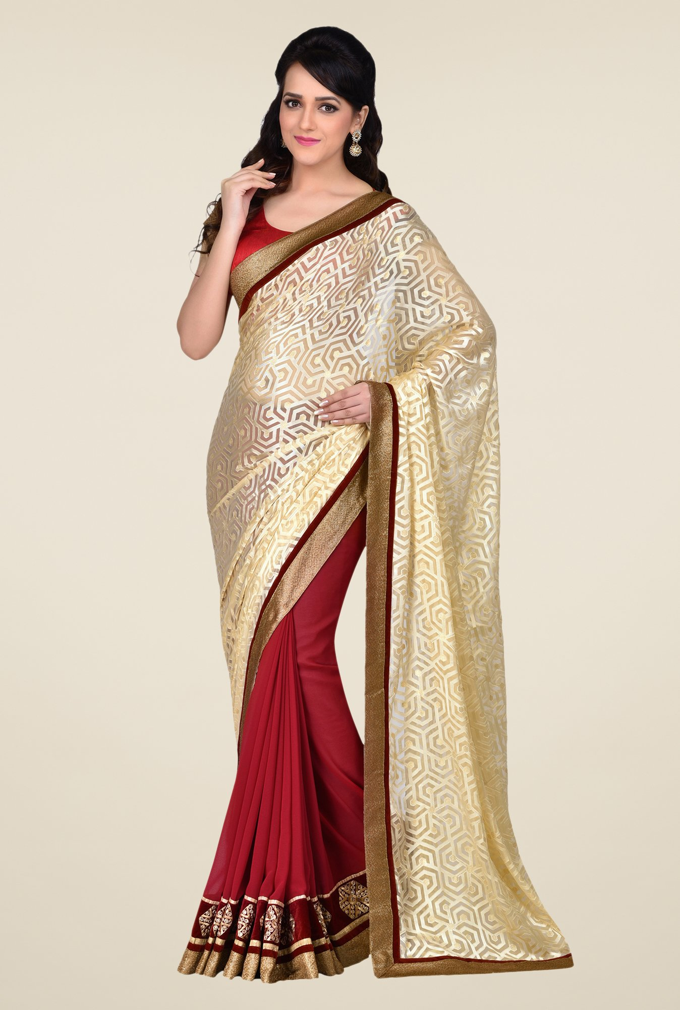 Shonaya Red & Beige Georgette & Brasso Saree