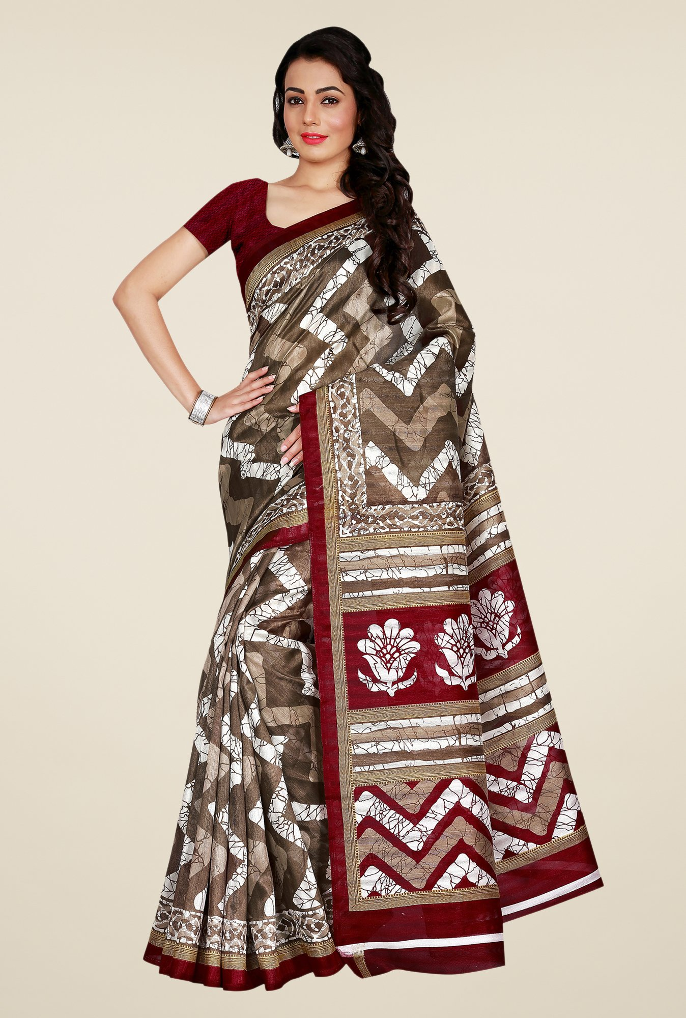 Shonaya Brown & Maroon Bhagalpuri Art Silk Saree