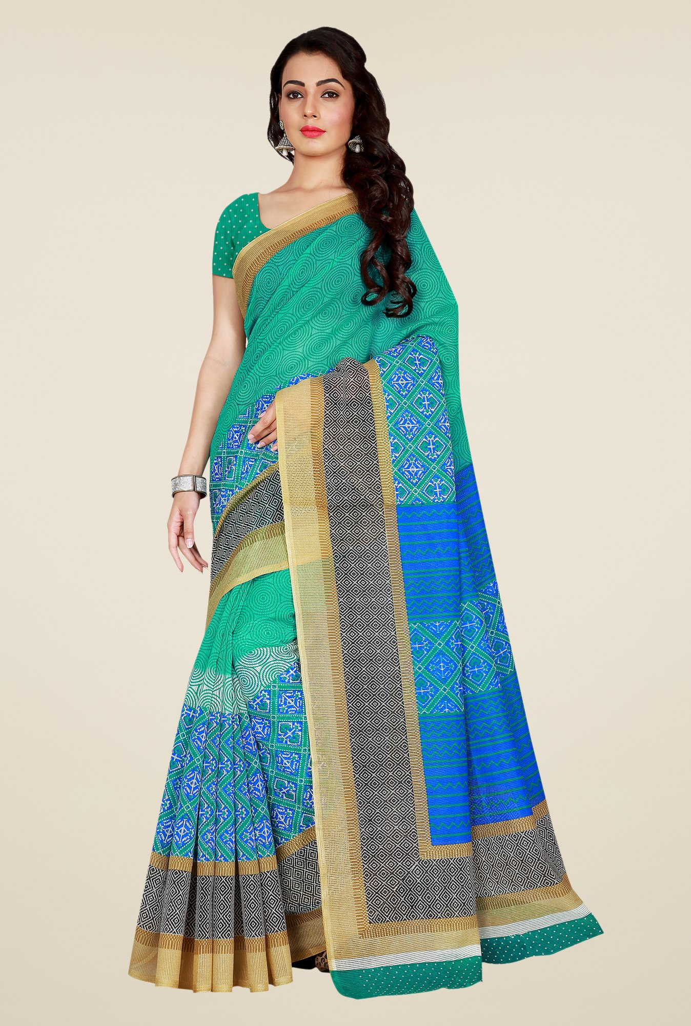 Shonaya Green & Blue Art Silk Saree