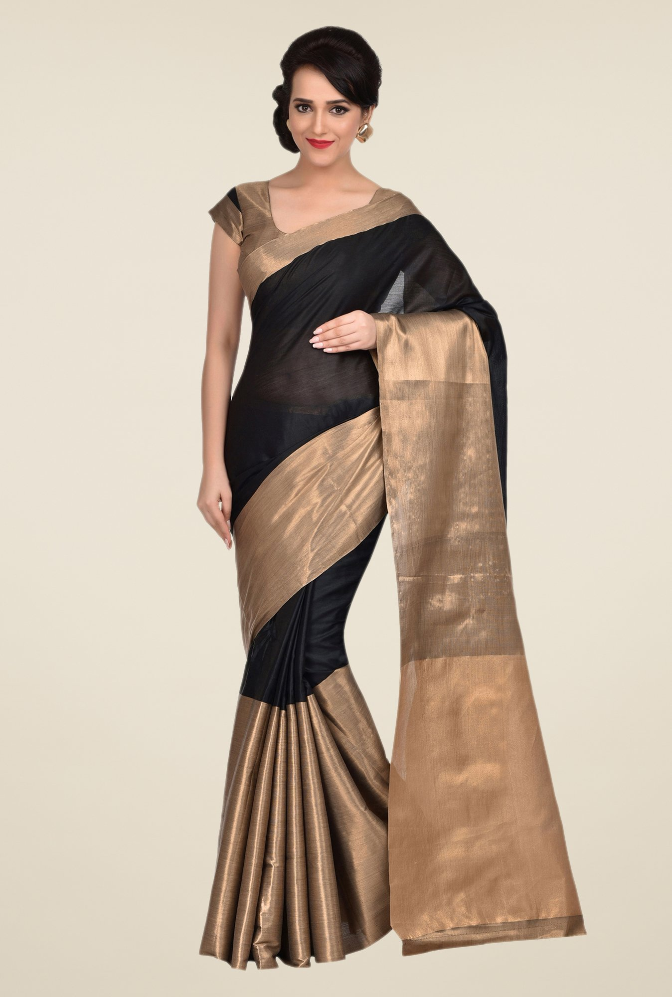 Shonaya Black & Golden Cotton Saree