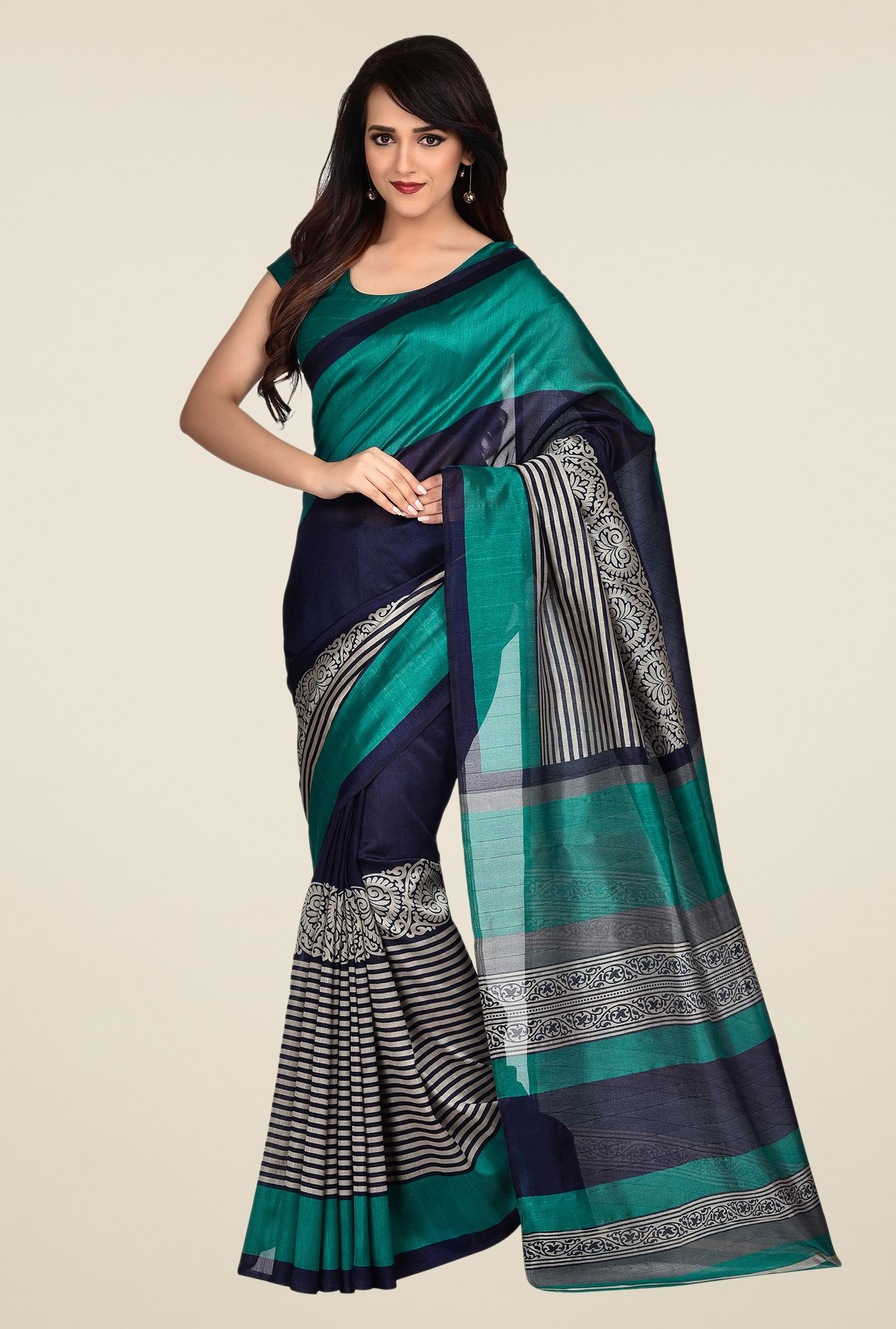 Shonaya Teal & Blue Bhagalpuri Art Silk Saree