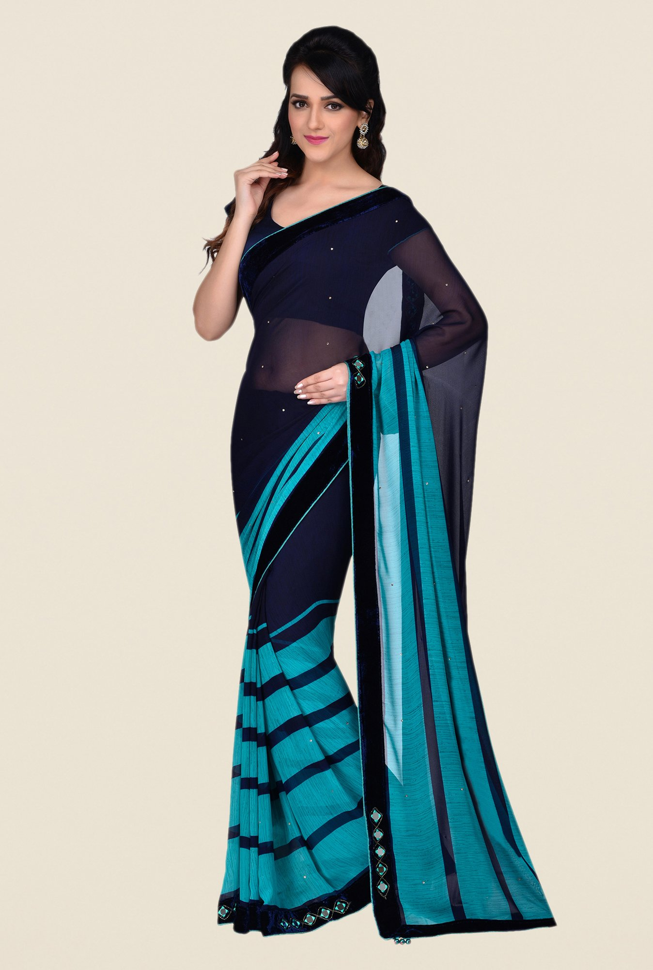 Shonaya Navy Georgette Saree