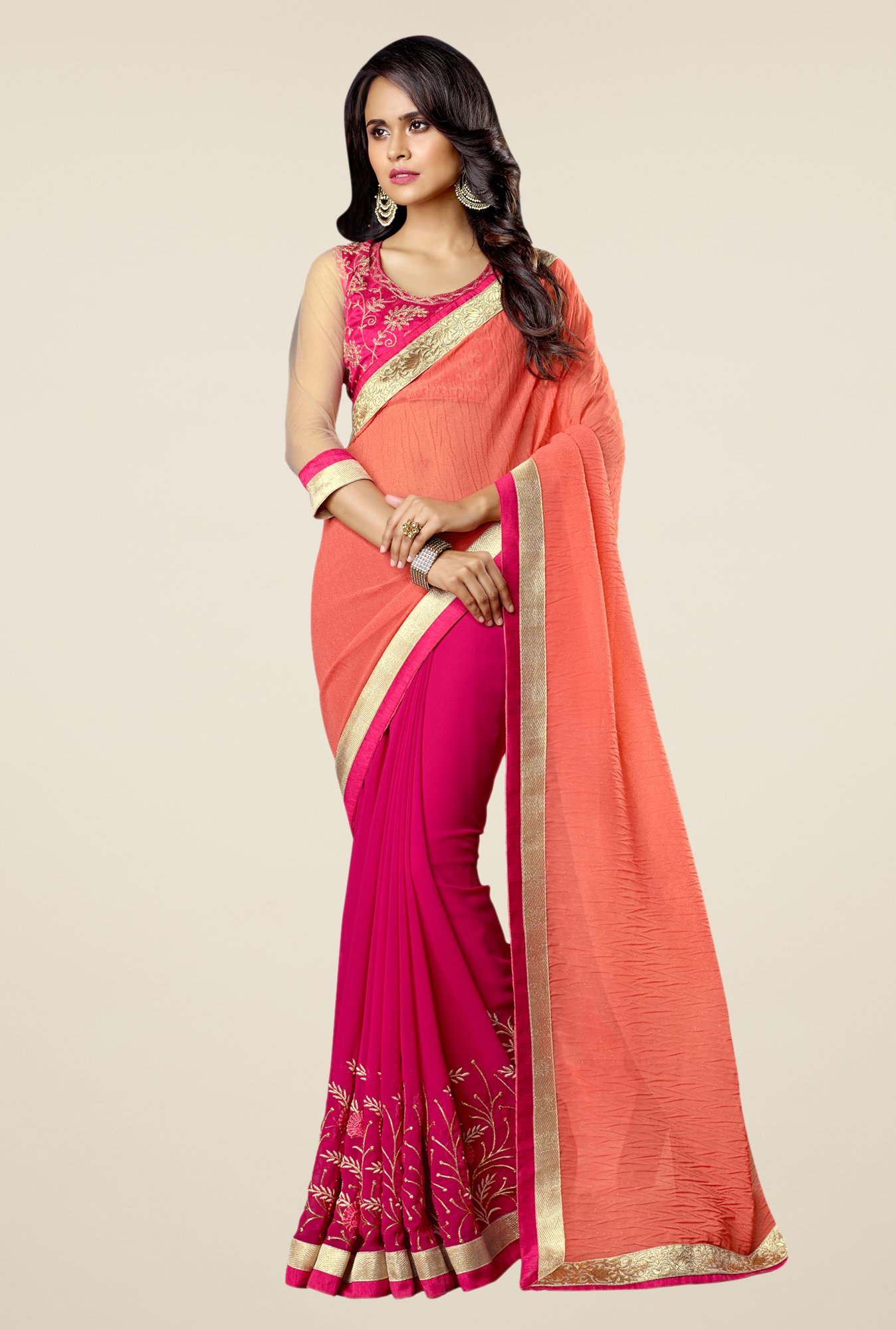 Triveni Magenta & Orange Embroidered Faux Georgette Saree