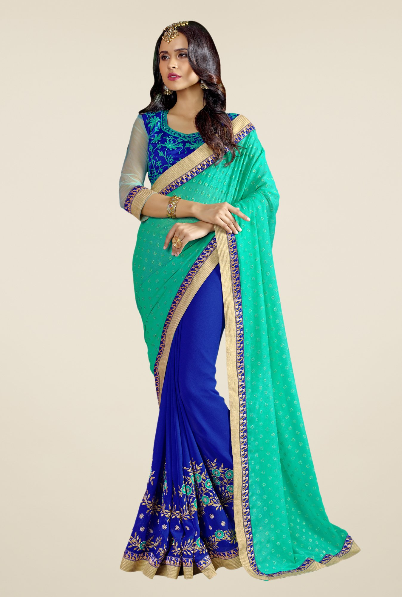 Triveni Blue & Turquoise Embroidered Faux Georgette Saree