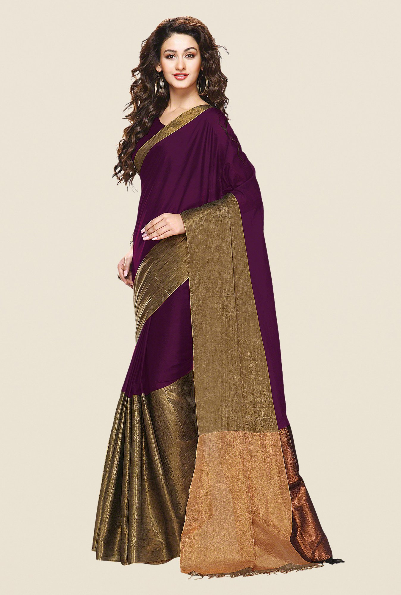 Shonaya Purple & Gold Cotton Silk Saree