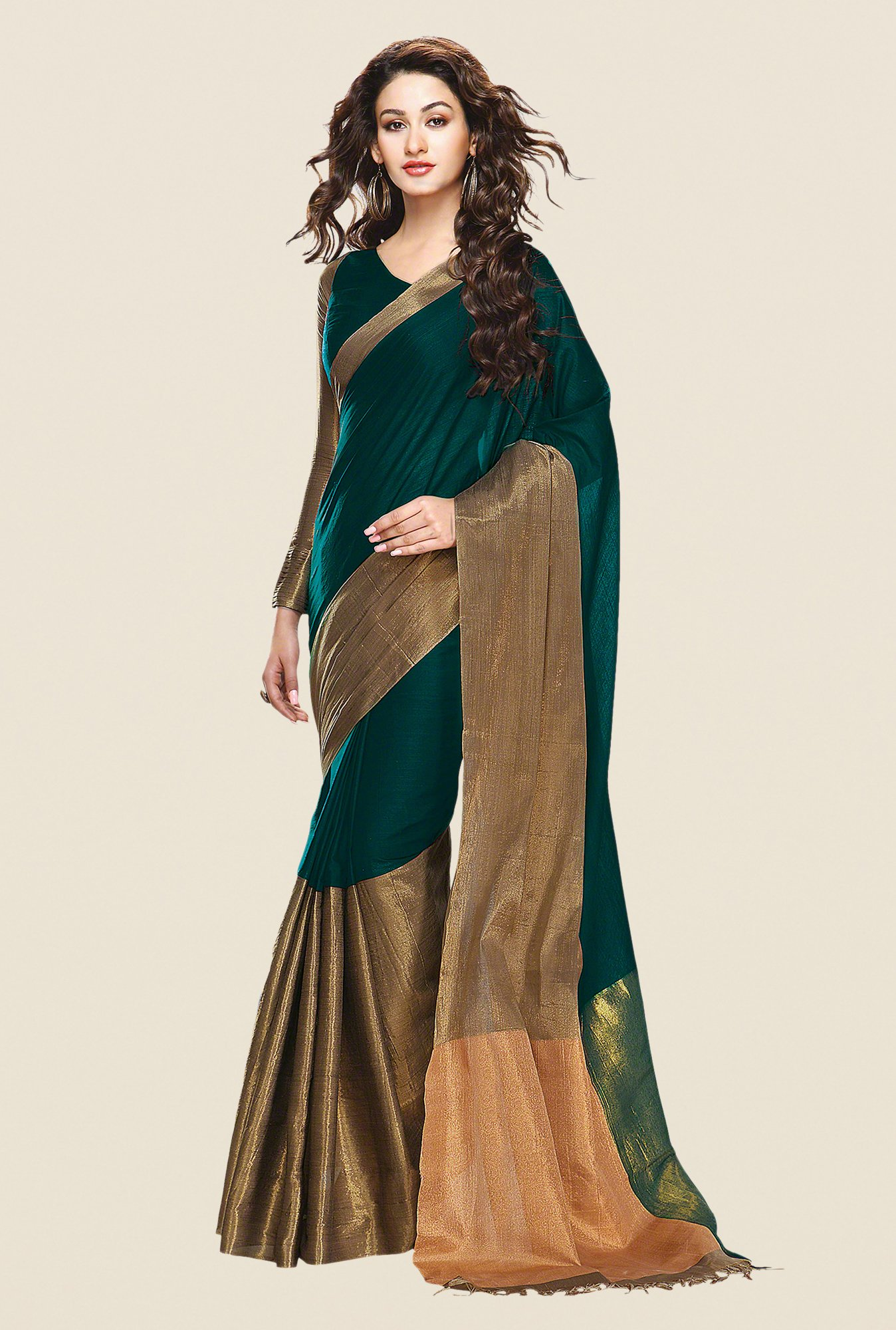 Shonaya Teal & Gold Cotton Silk Printed Saree
