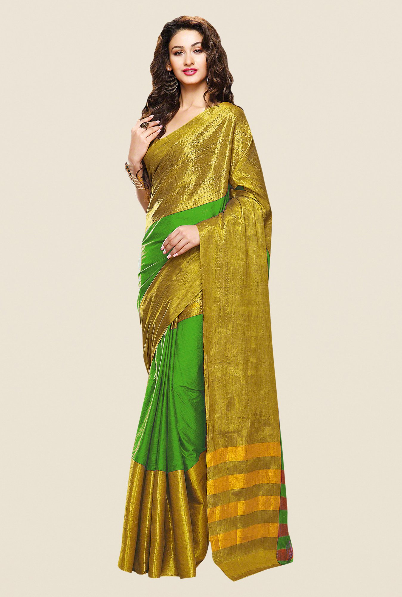 Shonaya Green & Gold Cotton Silk Printed Saree