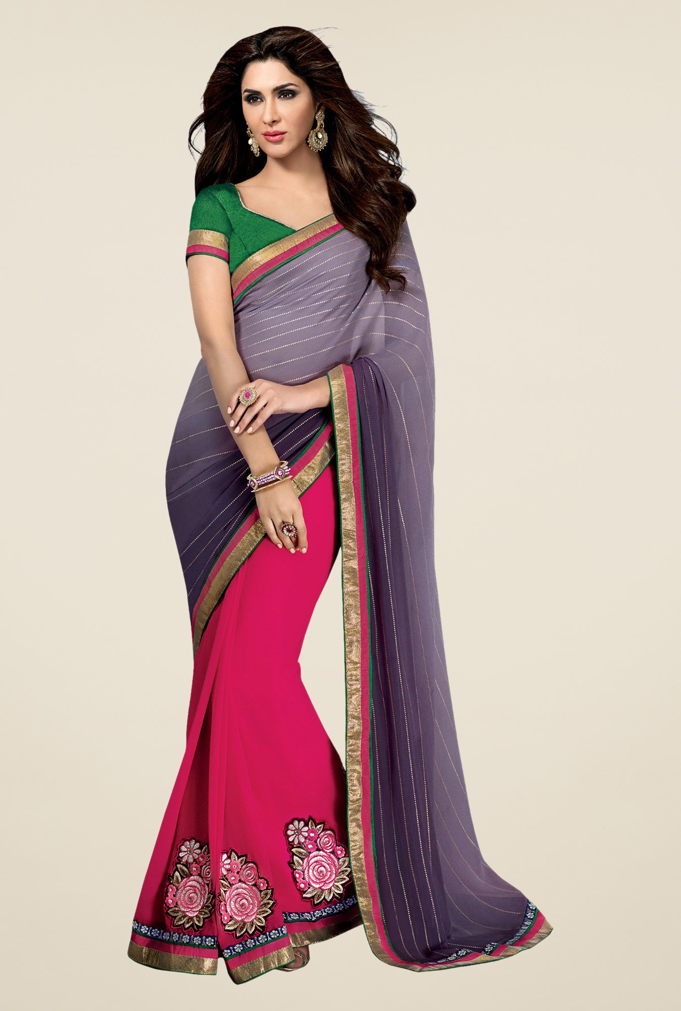 Shonaya Grey & Pink Georgette Embroidered Saree