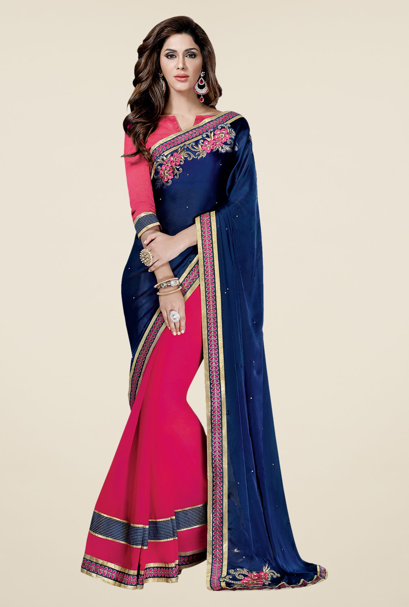 Shonaya Navy & Pink Georgette Saree
