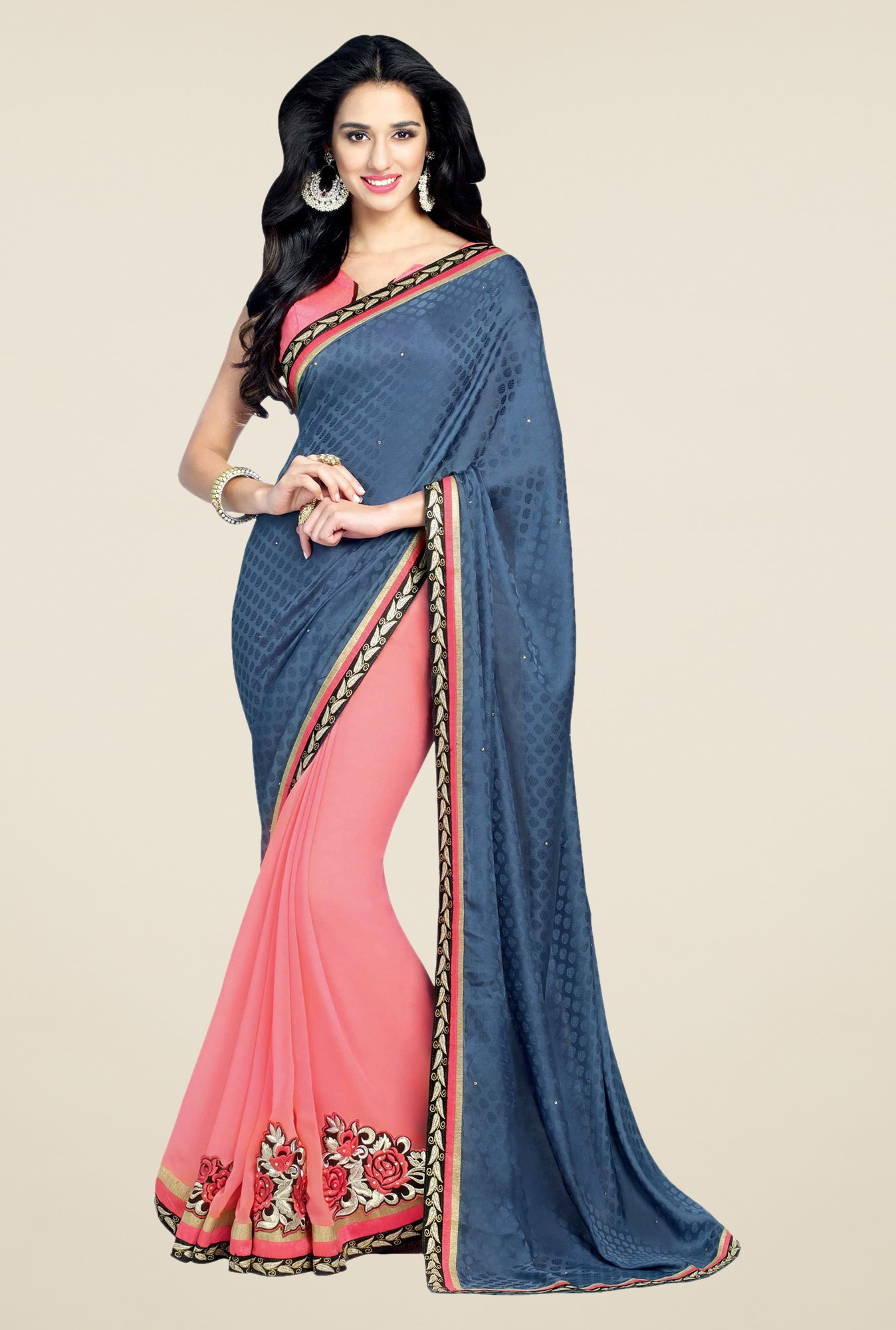 Shonaya Pink & Blue Georgette Printed Saree