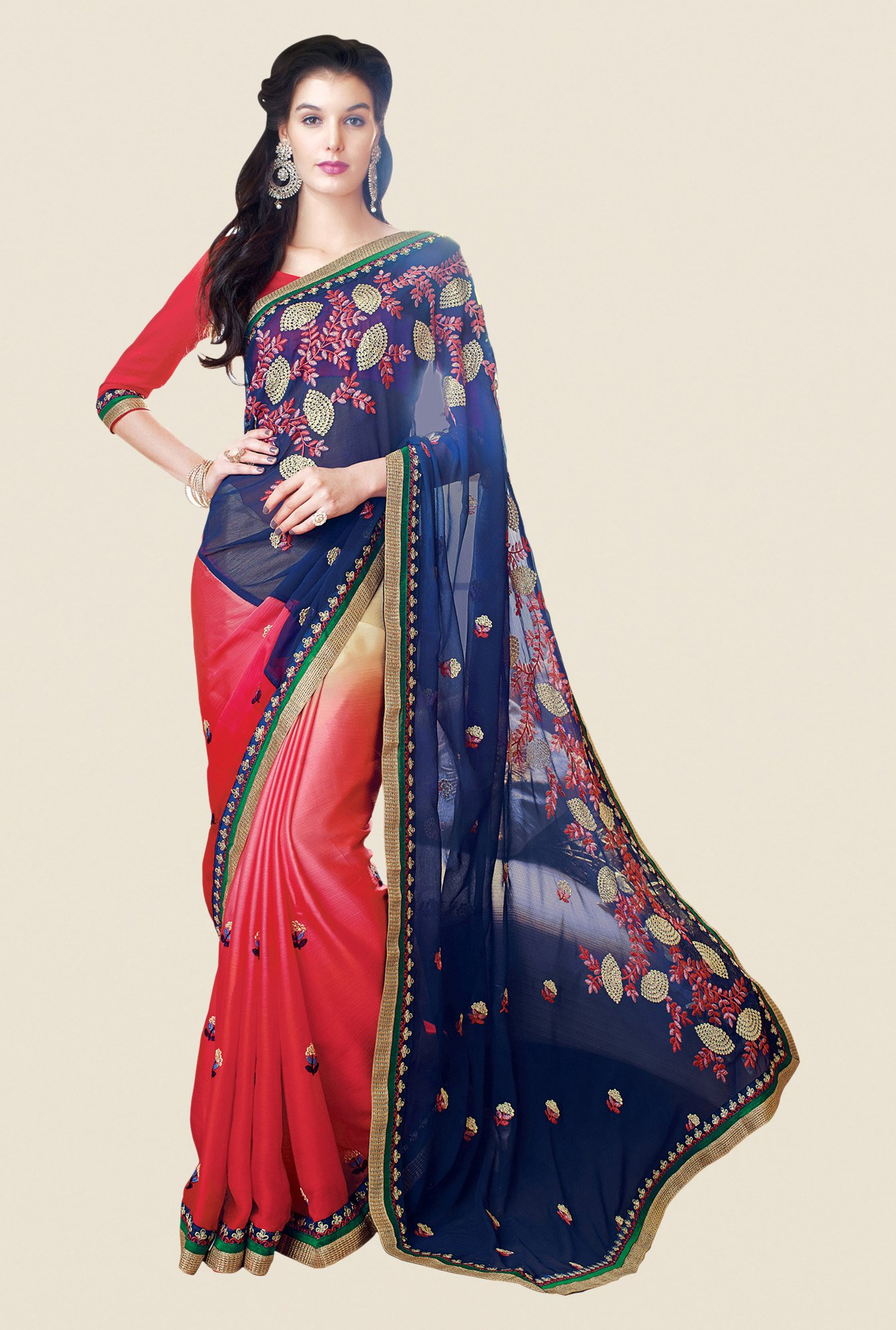 Shonaya Coral & Navy Satin Chiffon Embroidered Saree