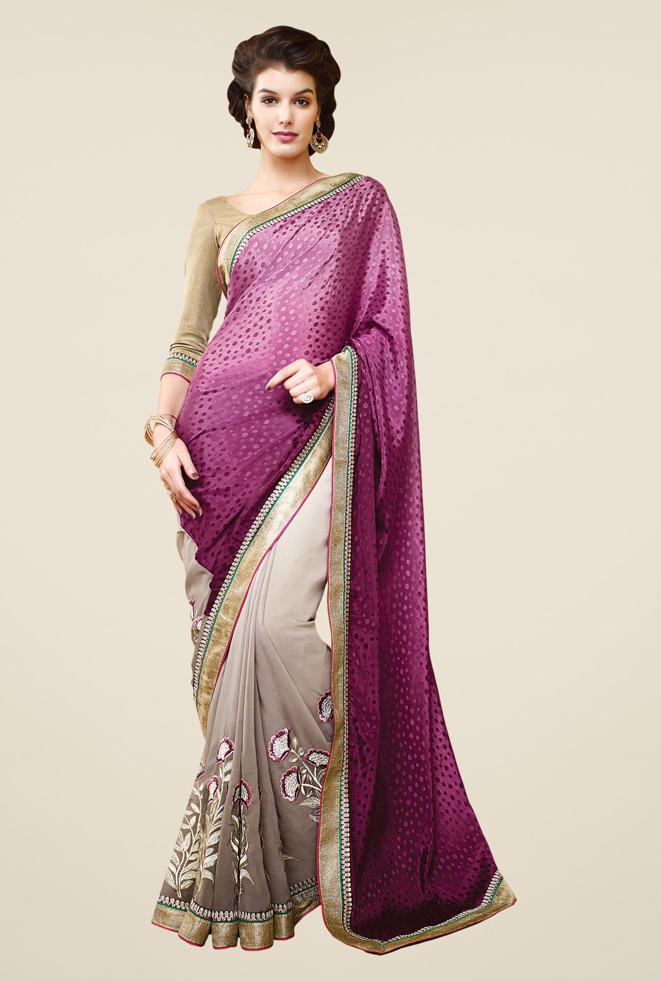 Shonaya Purple & Beige Faux Georgette Printed Saree