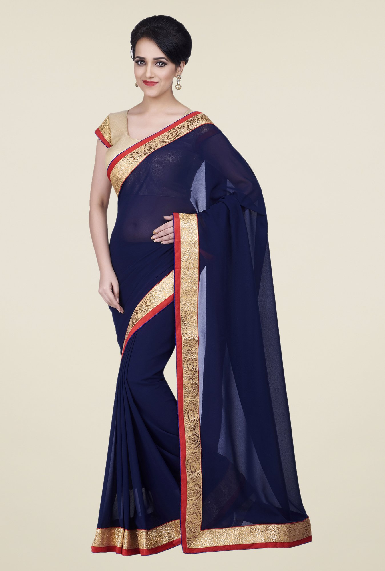 Shonaya Navy Chiffon Embroidered Saree