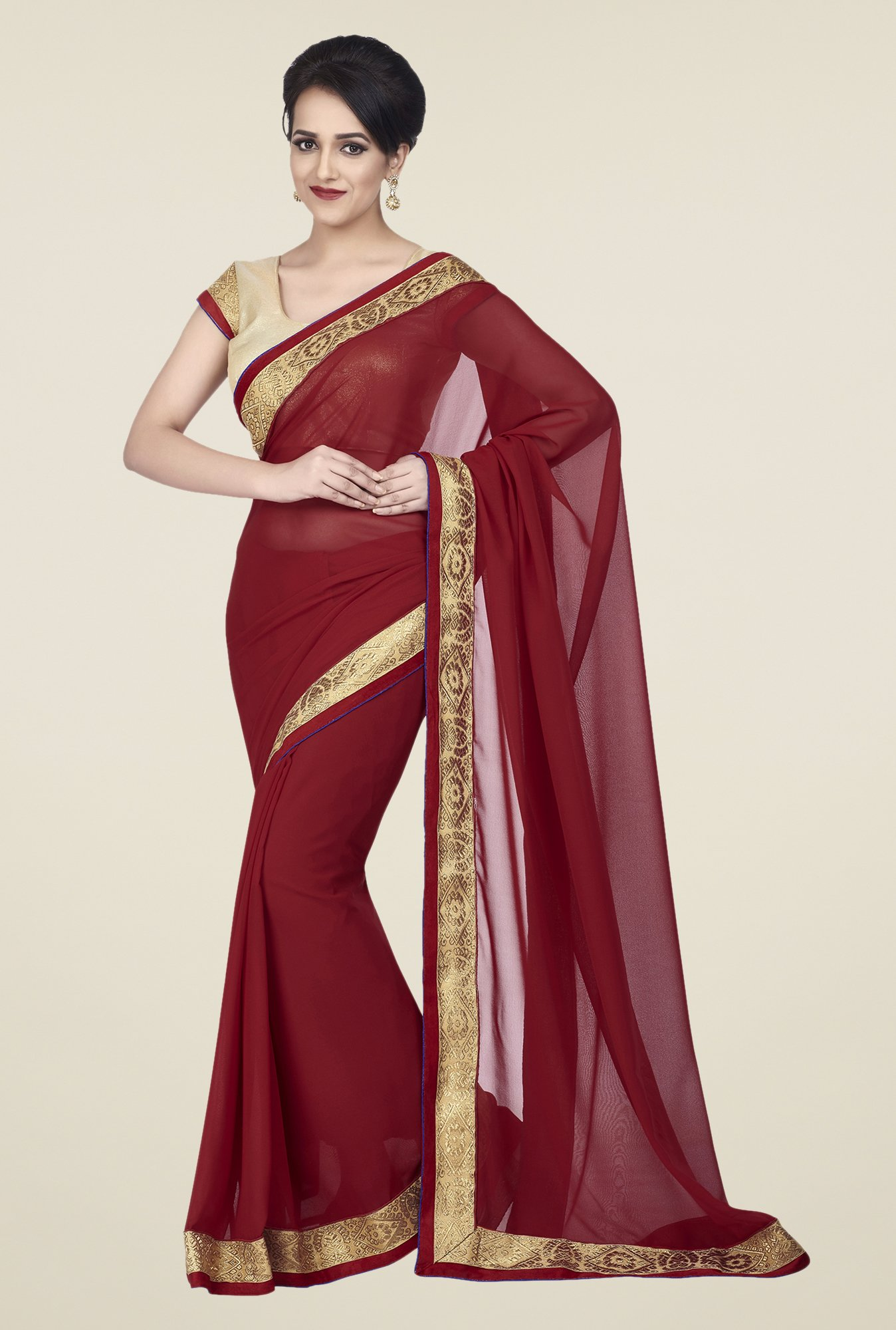 Shonaya Maroon Chiffon Embroidered Saree