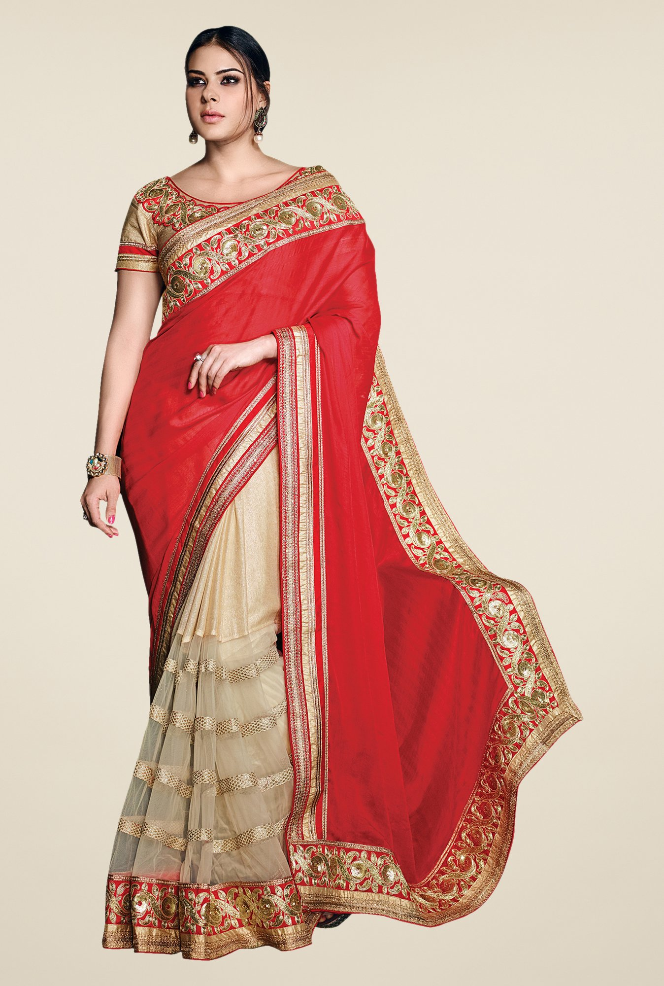 Shonaya Red & Off White Net Jute Cotton & Satin Saree