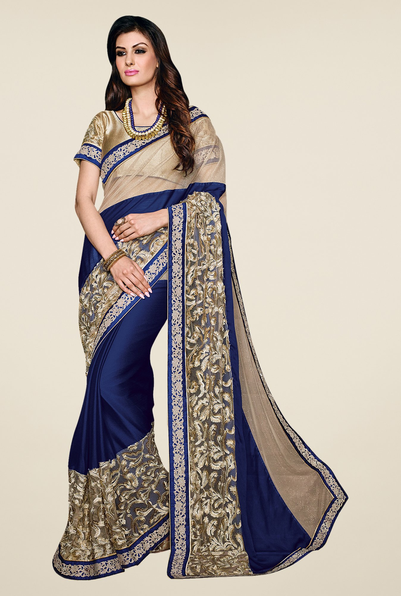 Shonaya Blue & Beige Satin Georgette & Lycra Saree