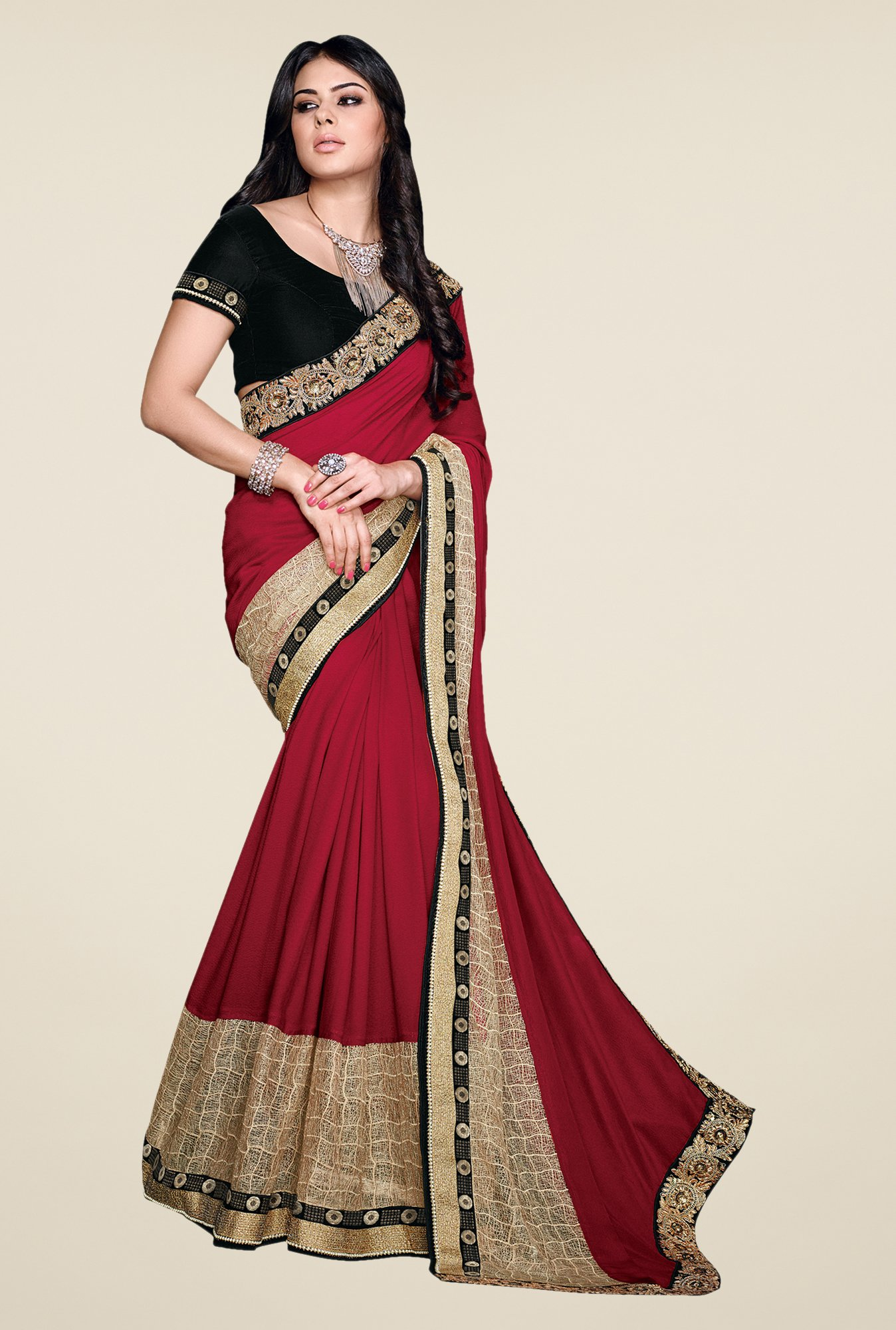 Shonaya Red & Beige Satin Georgette Embellished Saree
