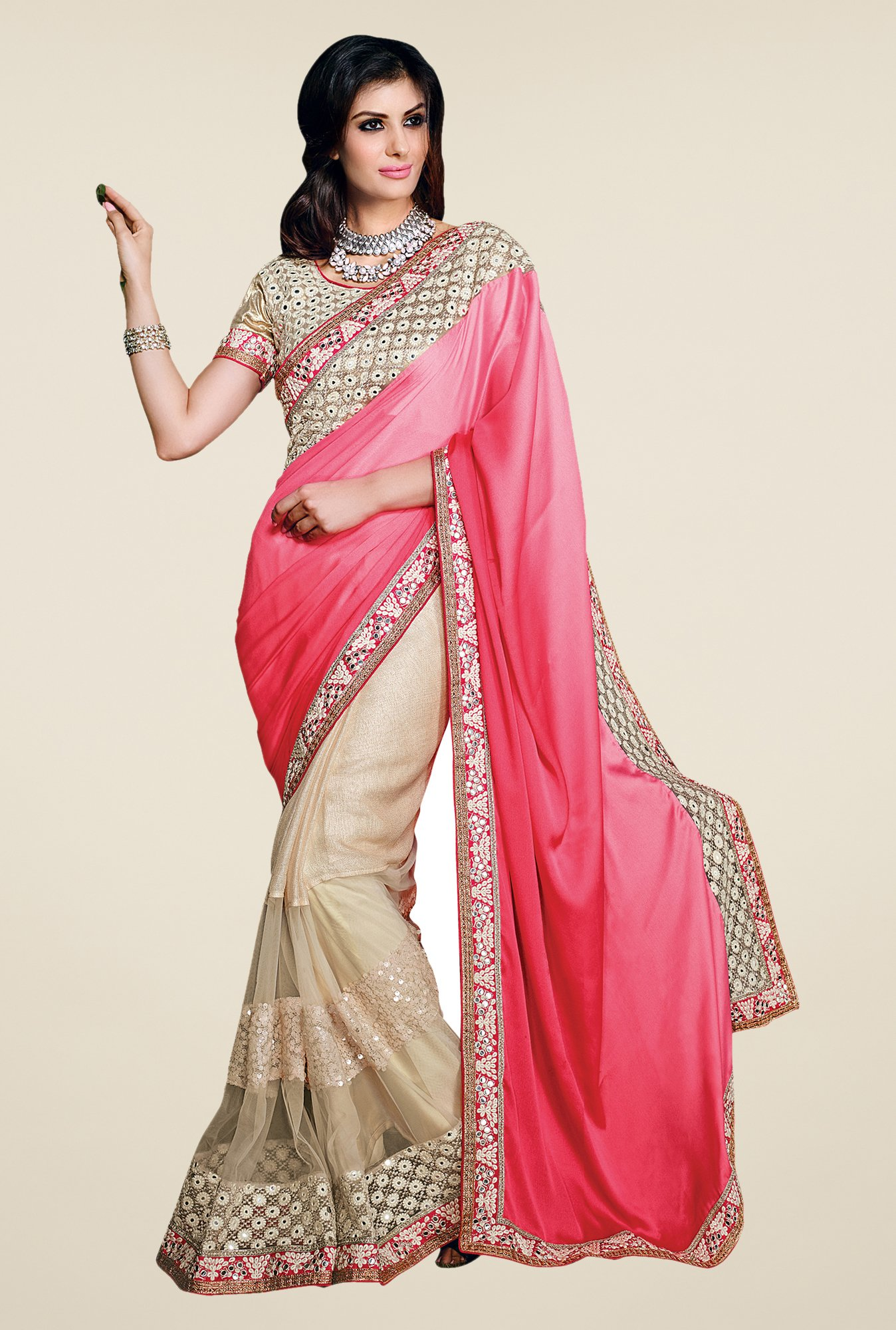 Shonaya Pink & Off White Net Jute Cotton & Georgette Saree