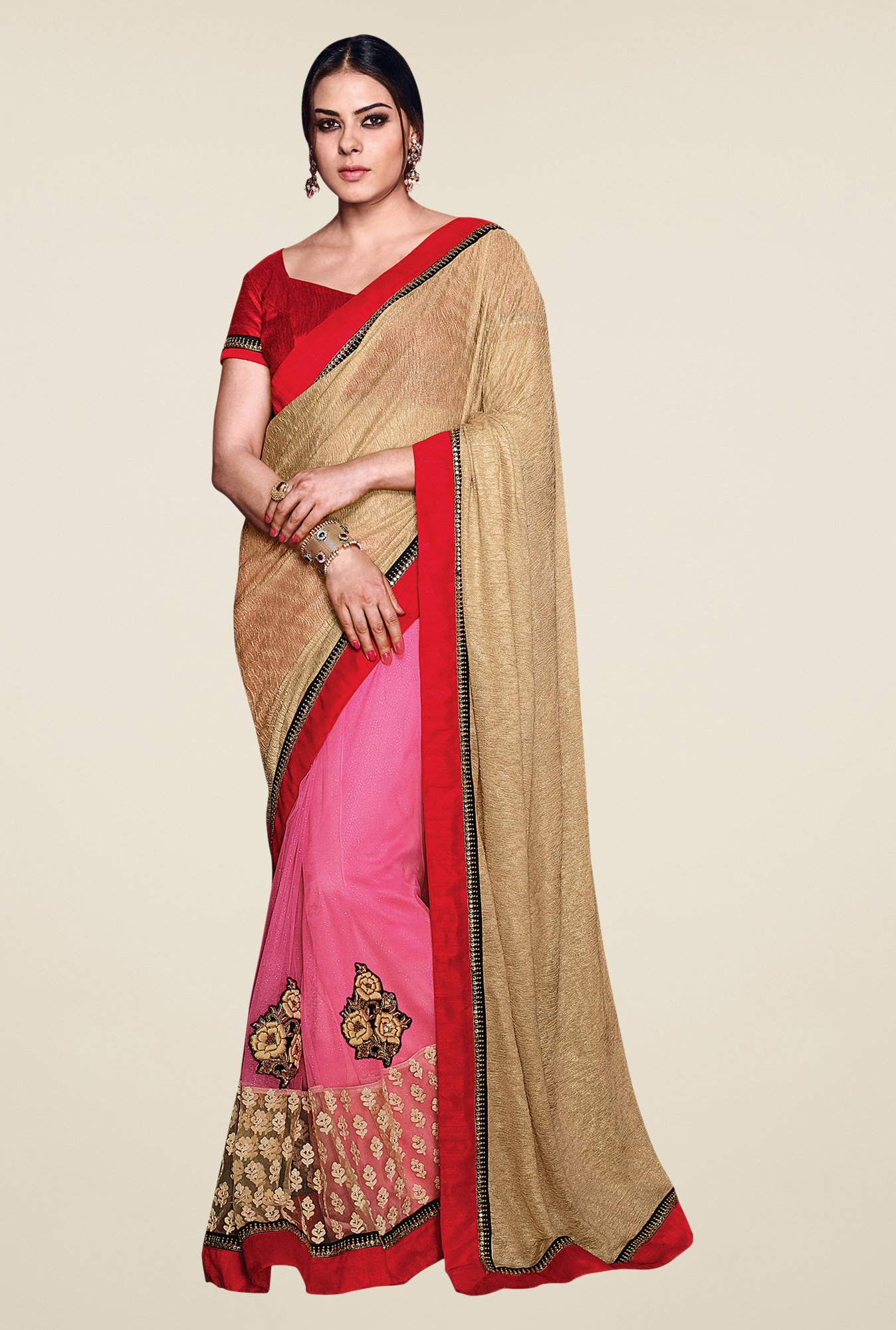 Shonaya Beige & Pink Net & Lycra Embroidered Saree