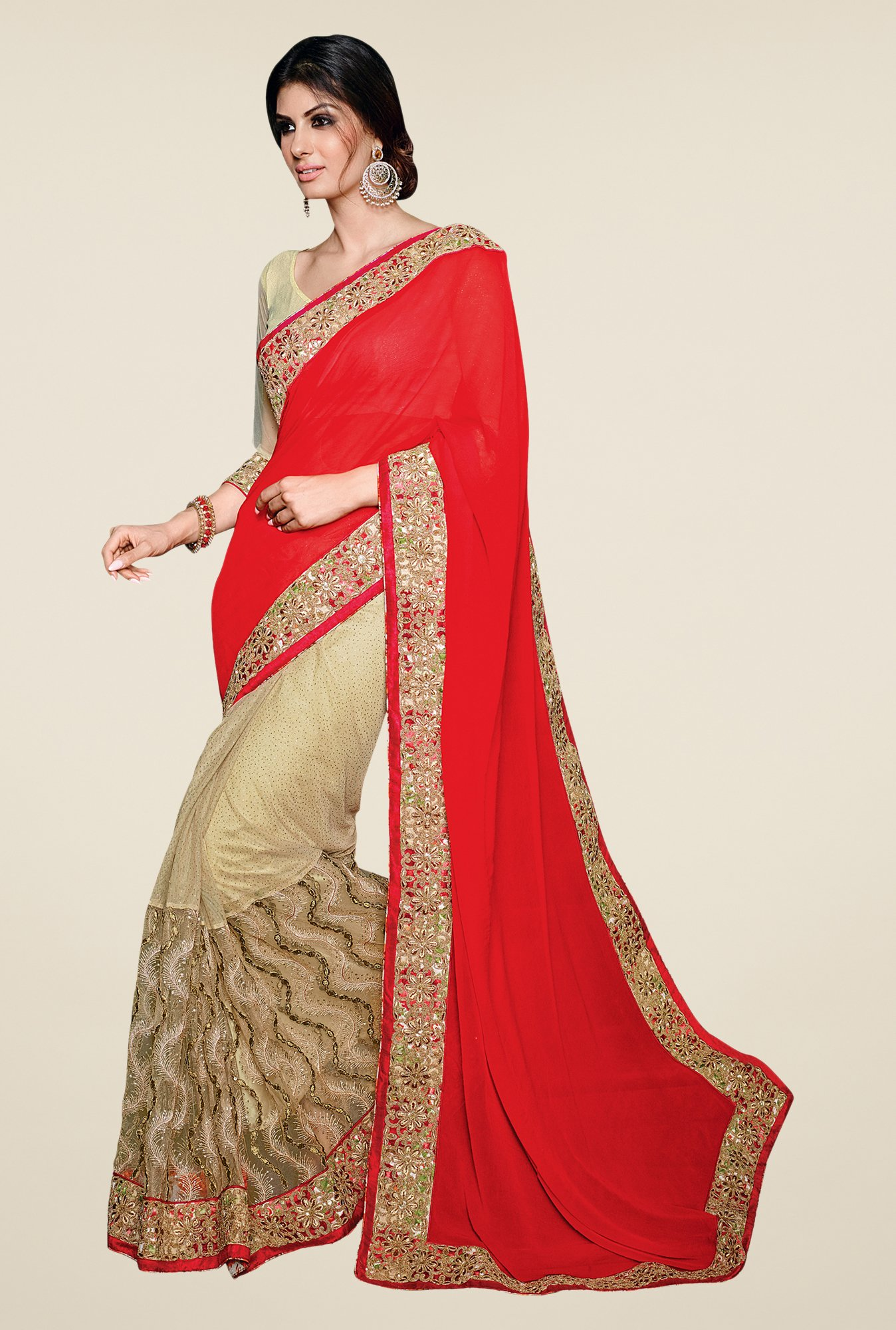 Shonaya Red & Beige Net & Georgette Embellished Saree
