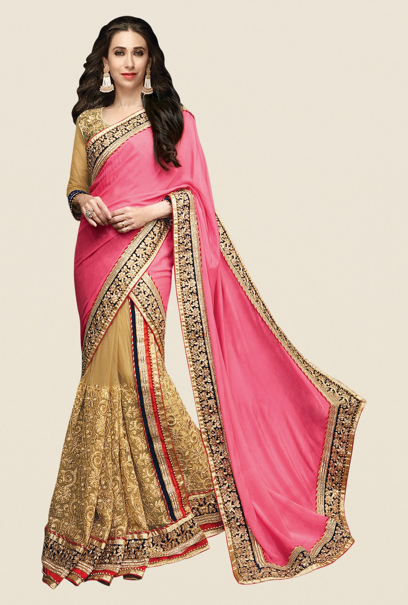 Shonaya Beige & Pink Net & Chiffon Embroidered Saree