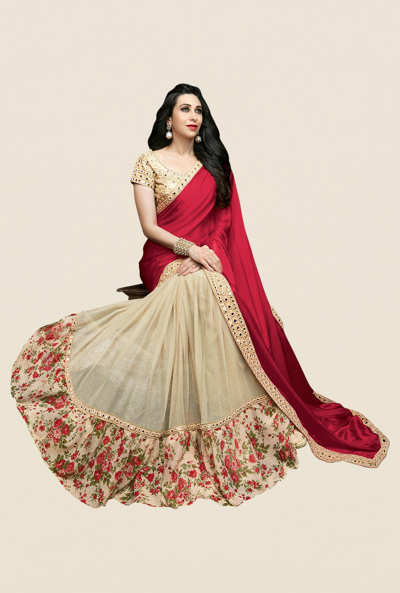 Shonaya Beige & Red Net & Satin Georgette Embellished Saree